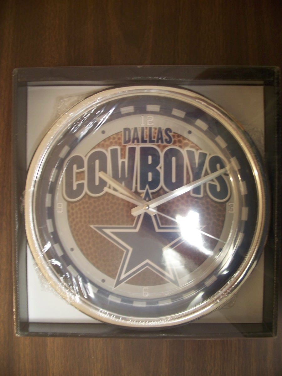 "Dallas Cowboys NFL 12"" Chrome Clock"