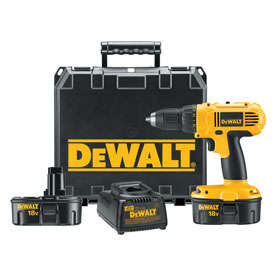 "18-Volt 1/2"" Dewalt Cordless Compact Drill Kit with Case"