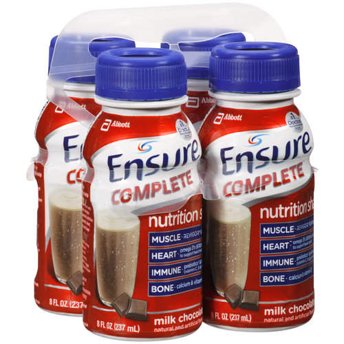 Ensure Complete Chocolate Nutrition Shakes, 8 fl oz, 4 count