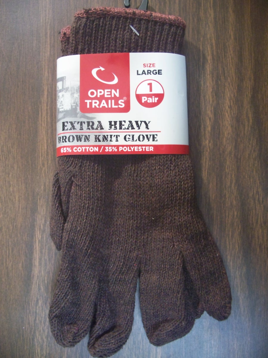 Open Trails Extra Heavy Brown Knit Glove Size Large