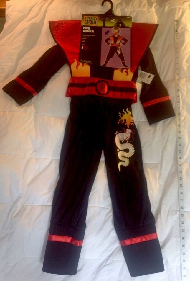 NEW-FIRE NINJA Halloween Costume Chiidren SZ L