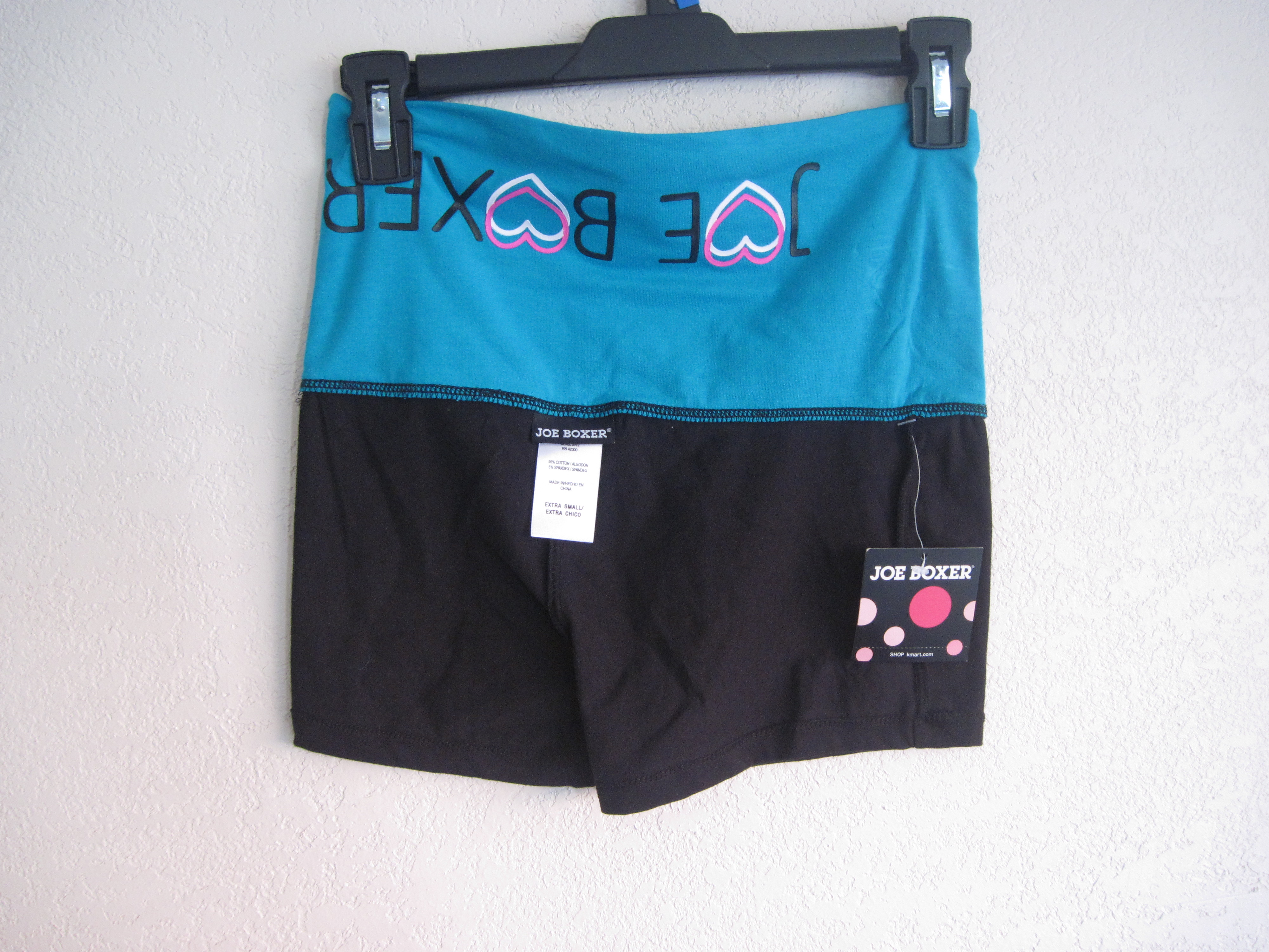 Joe Boxer Sz XS Shorts (black & blue fold over)