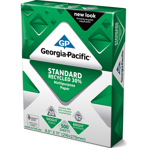 Georgia-Pacific Standard Recycled 30% Multipurpose Paper, 8.5 x