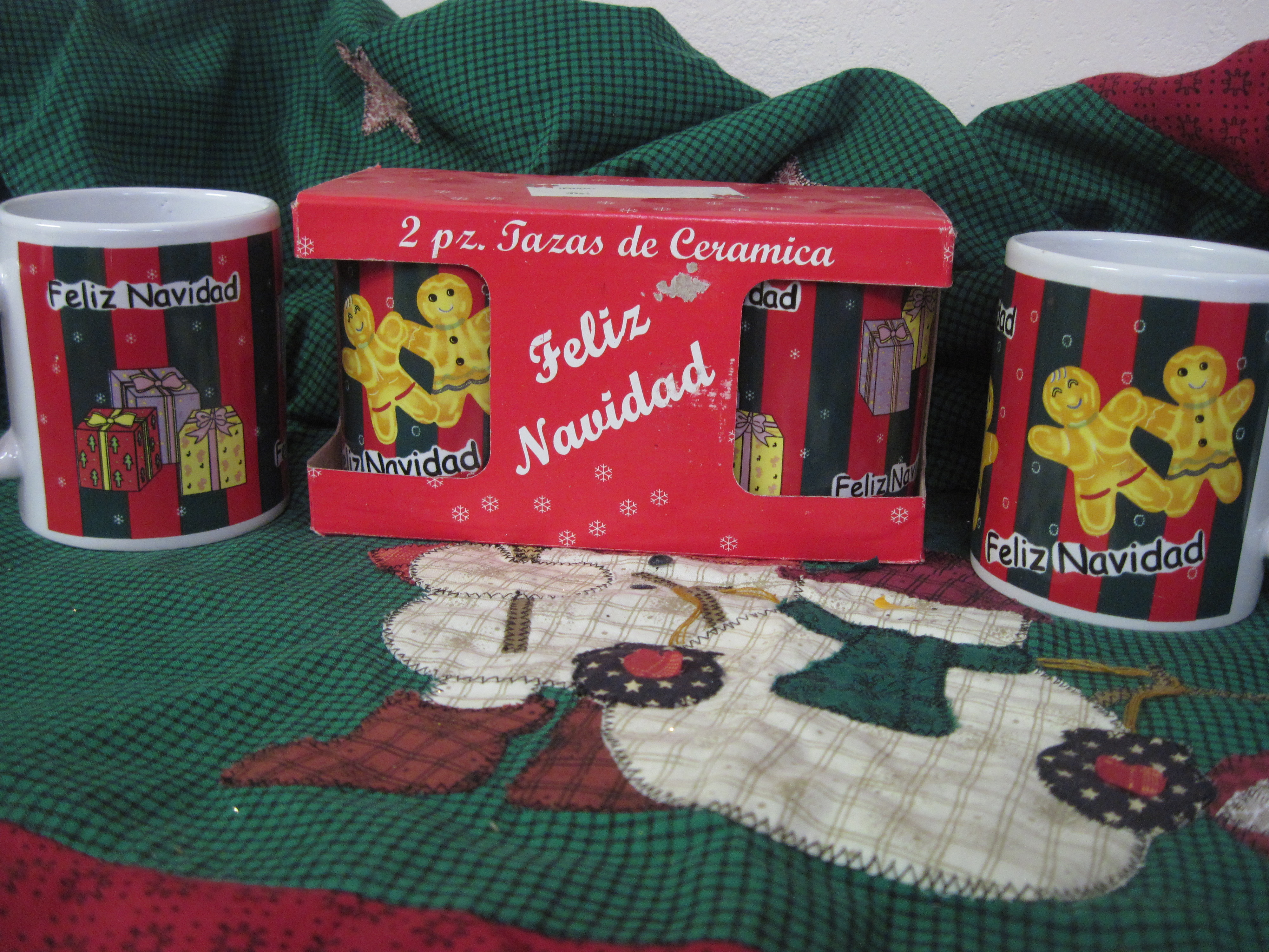2 PC Mugs with Collectors Box - FELIZ NAVIDAD