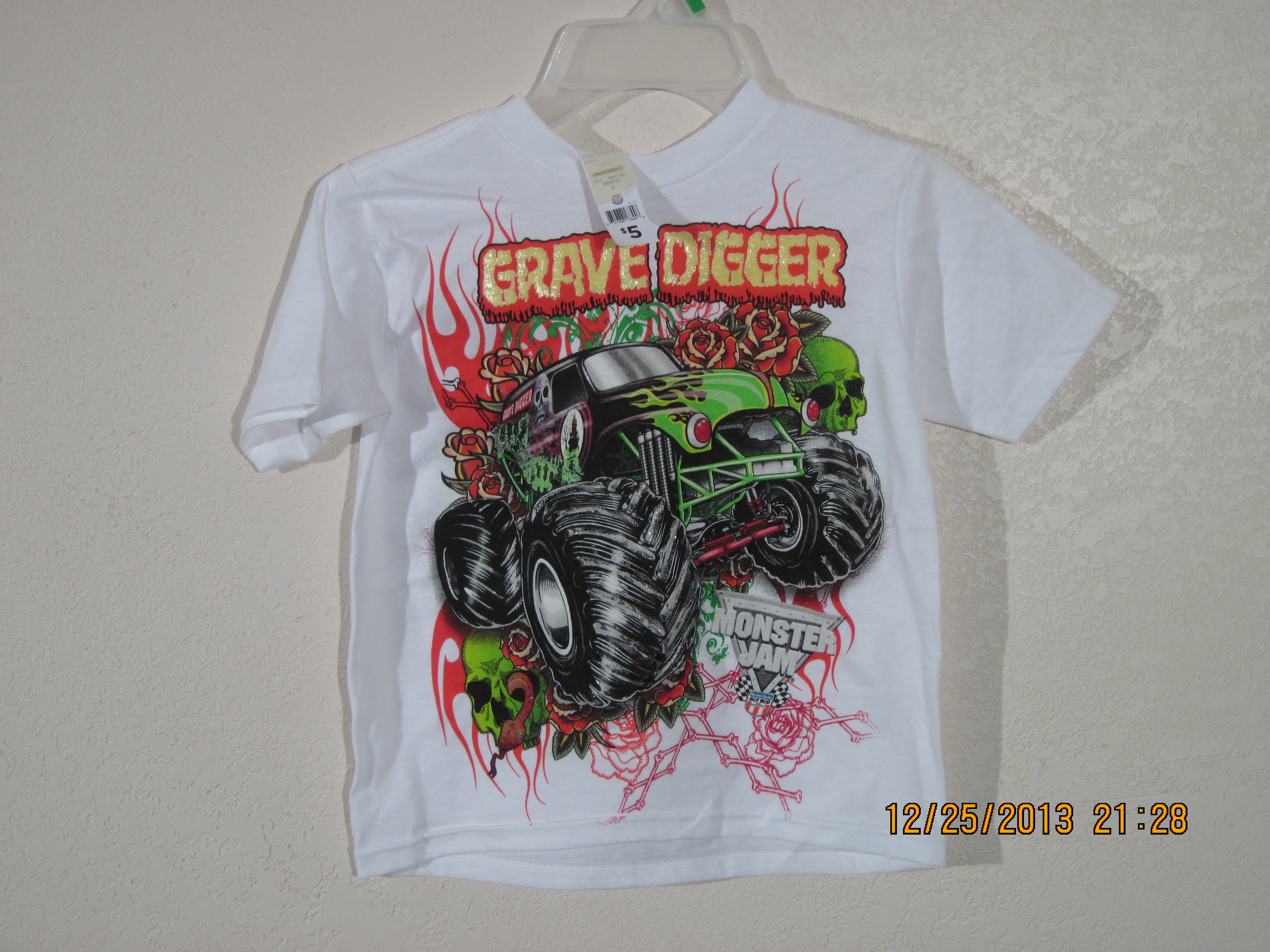 Monster Jam Grave Digger Sz 4 T-Shirt(white)