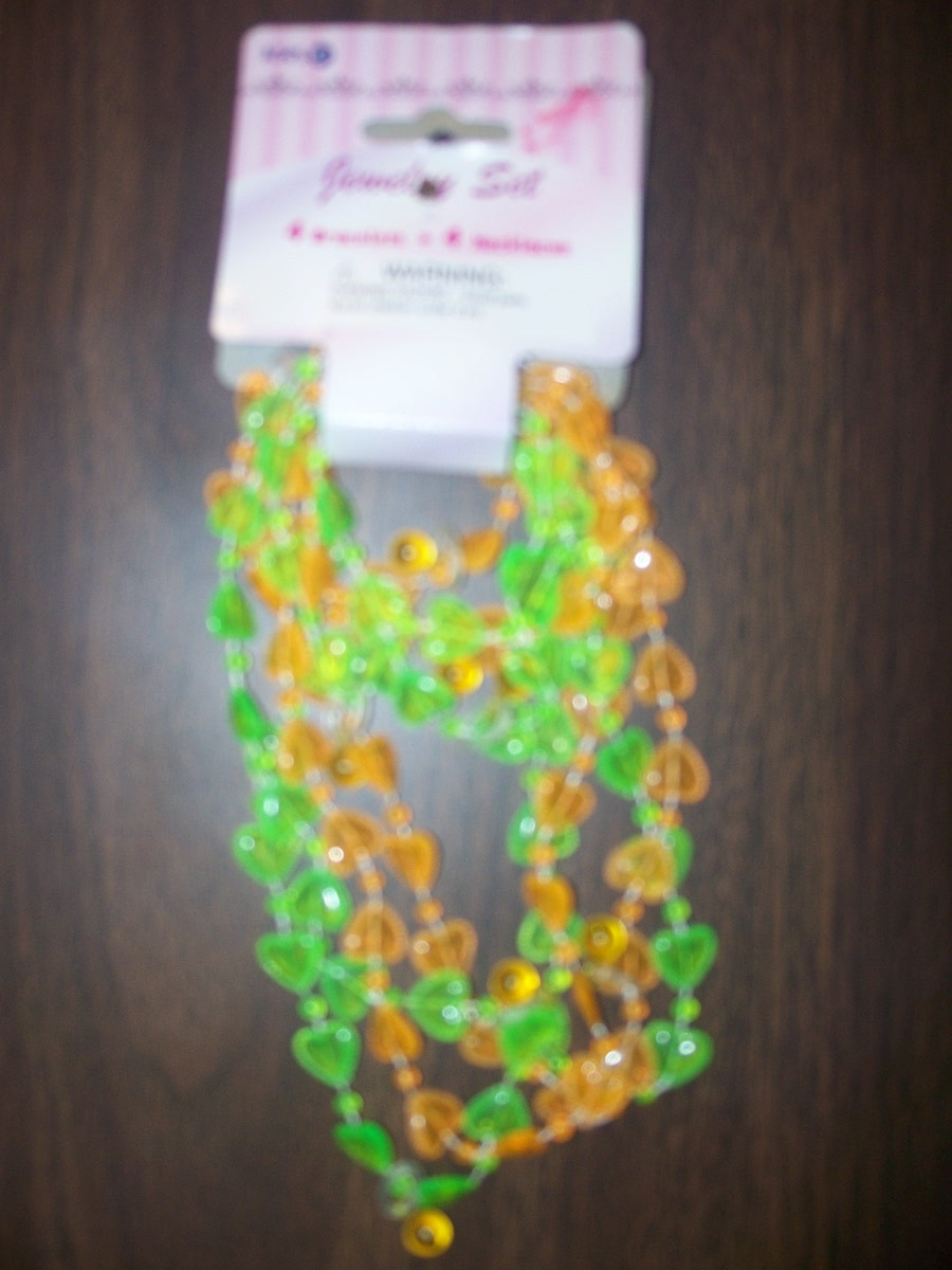 Jewelry Set (4 Bracelets & 4 Necklaces, Green & Orange)
