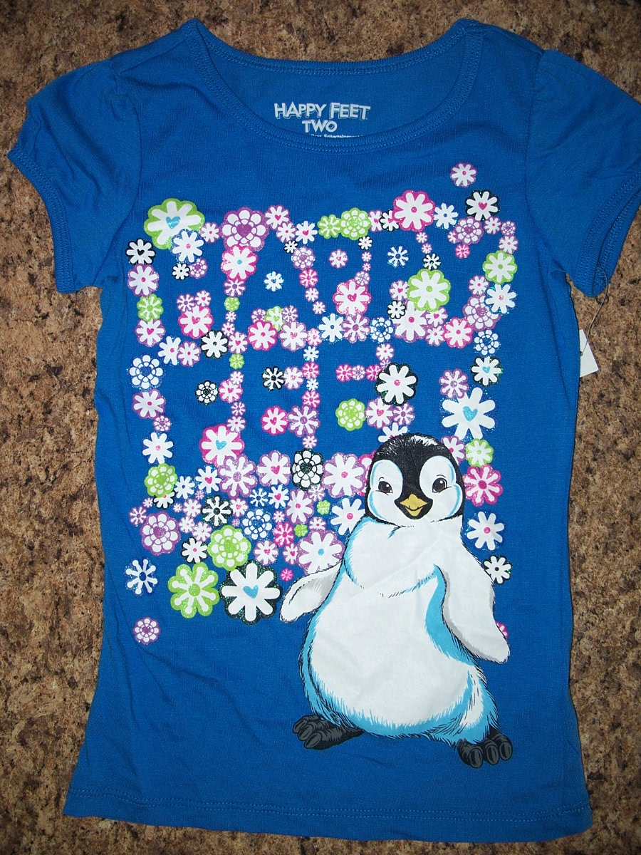 Sz XS 4/5 Happy Feet 2 Blue Tee(Penguin)