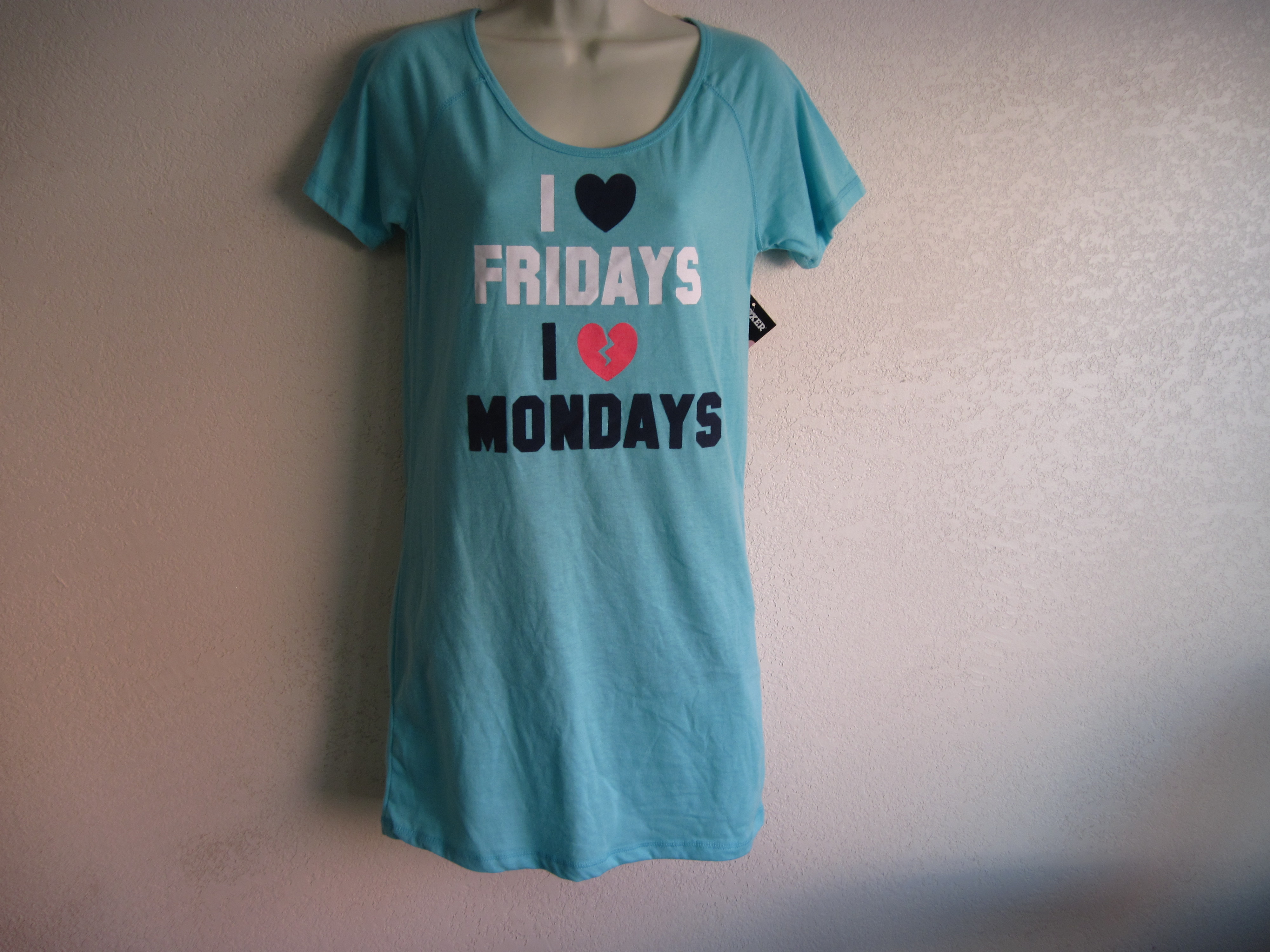 Joe Boxer Sz M Sleep Shirt (I Love Fridays I Hate Mondays)