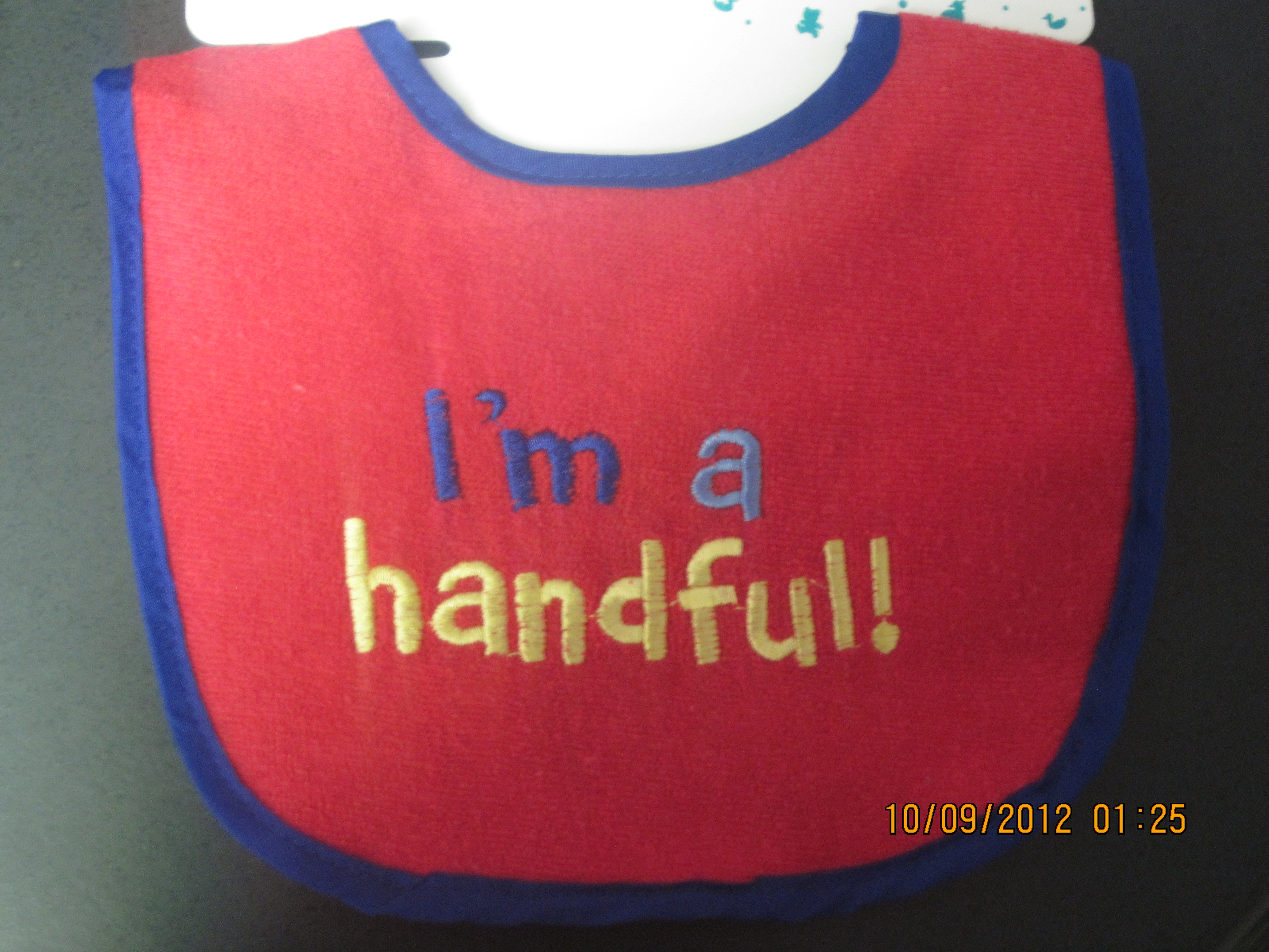 I'm a Handful Infant Bib (red with blue trim)