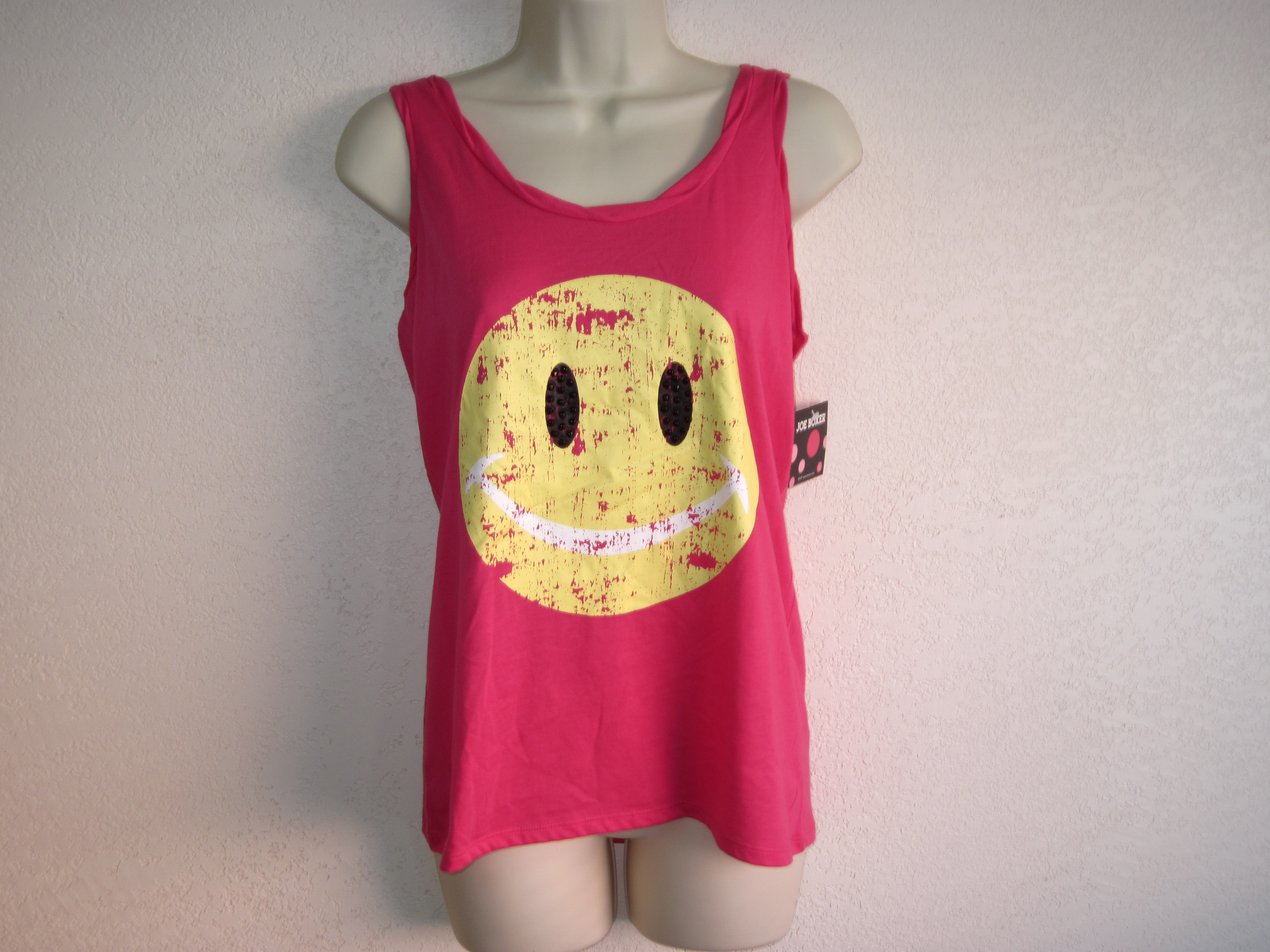 Joe Boxer Sz S Tank top Pink with Smiley Face on front