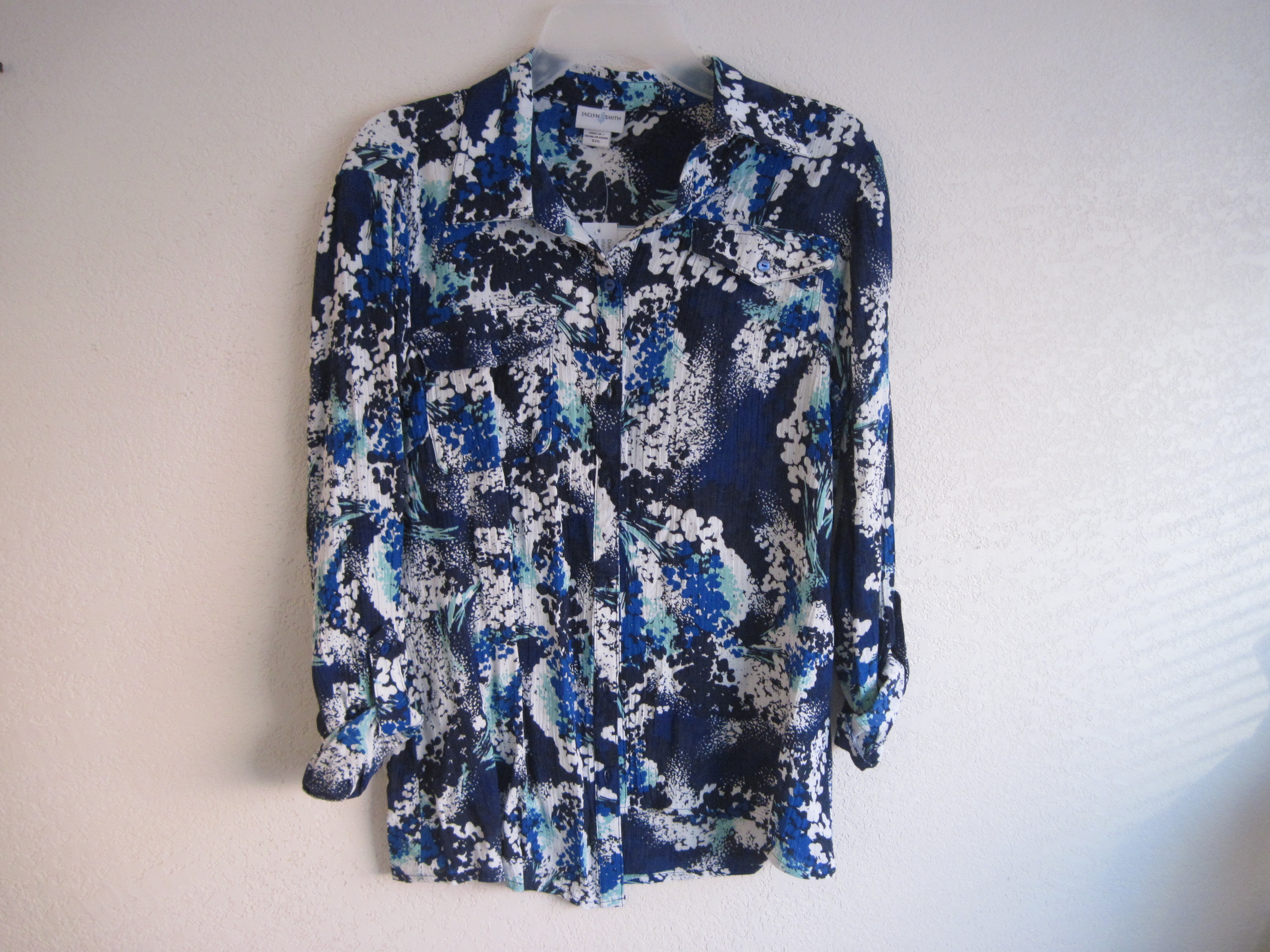 Jaclyn Smith Sz S Long Sleeve Graphic Print Top & Matching Belt