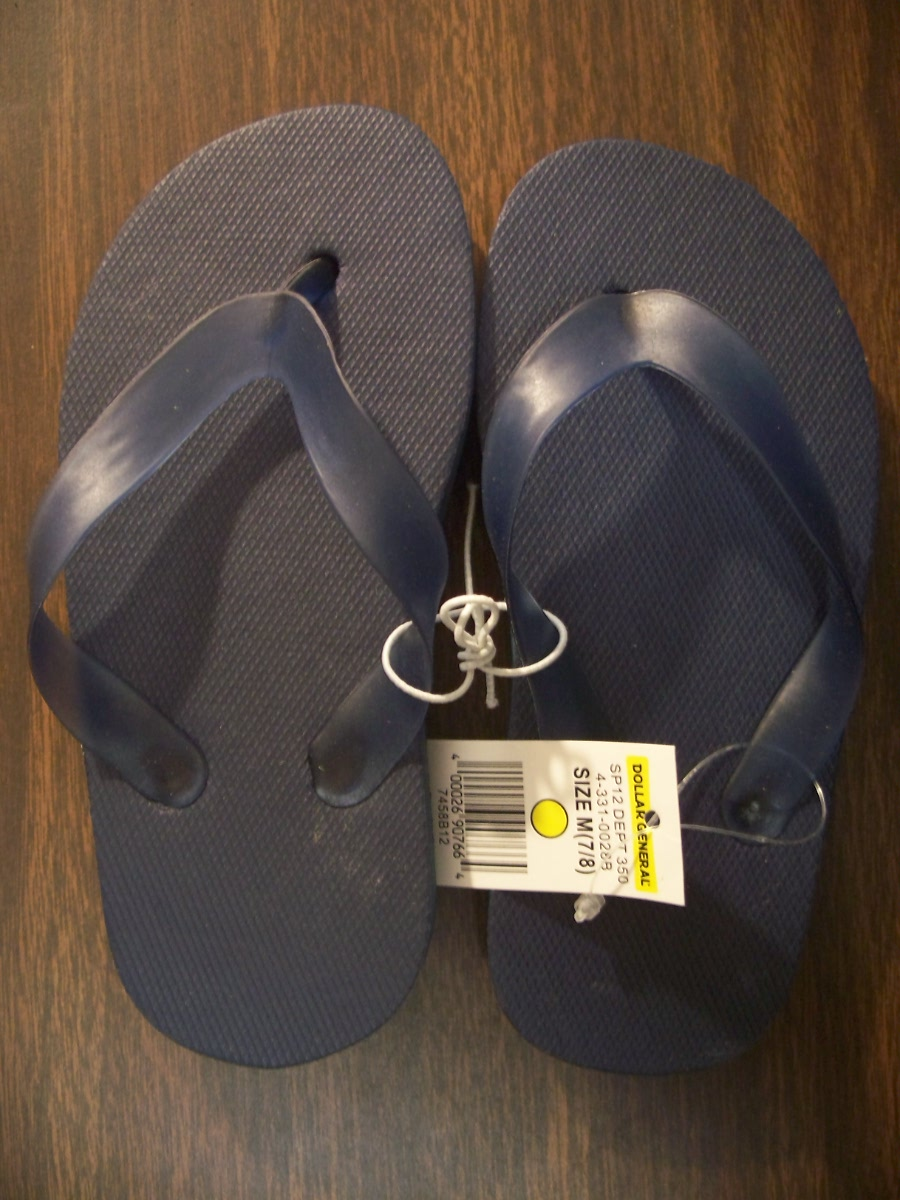 Flip Flops Sz Large Plain (black)