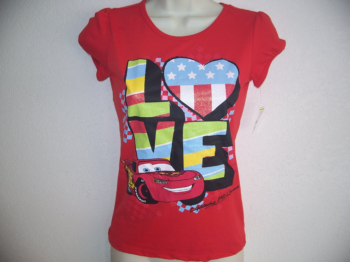 CARS T-Shirt love Sz Lg 10/12 Red
