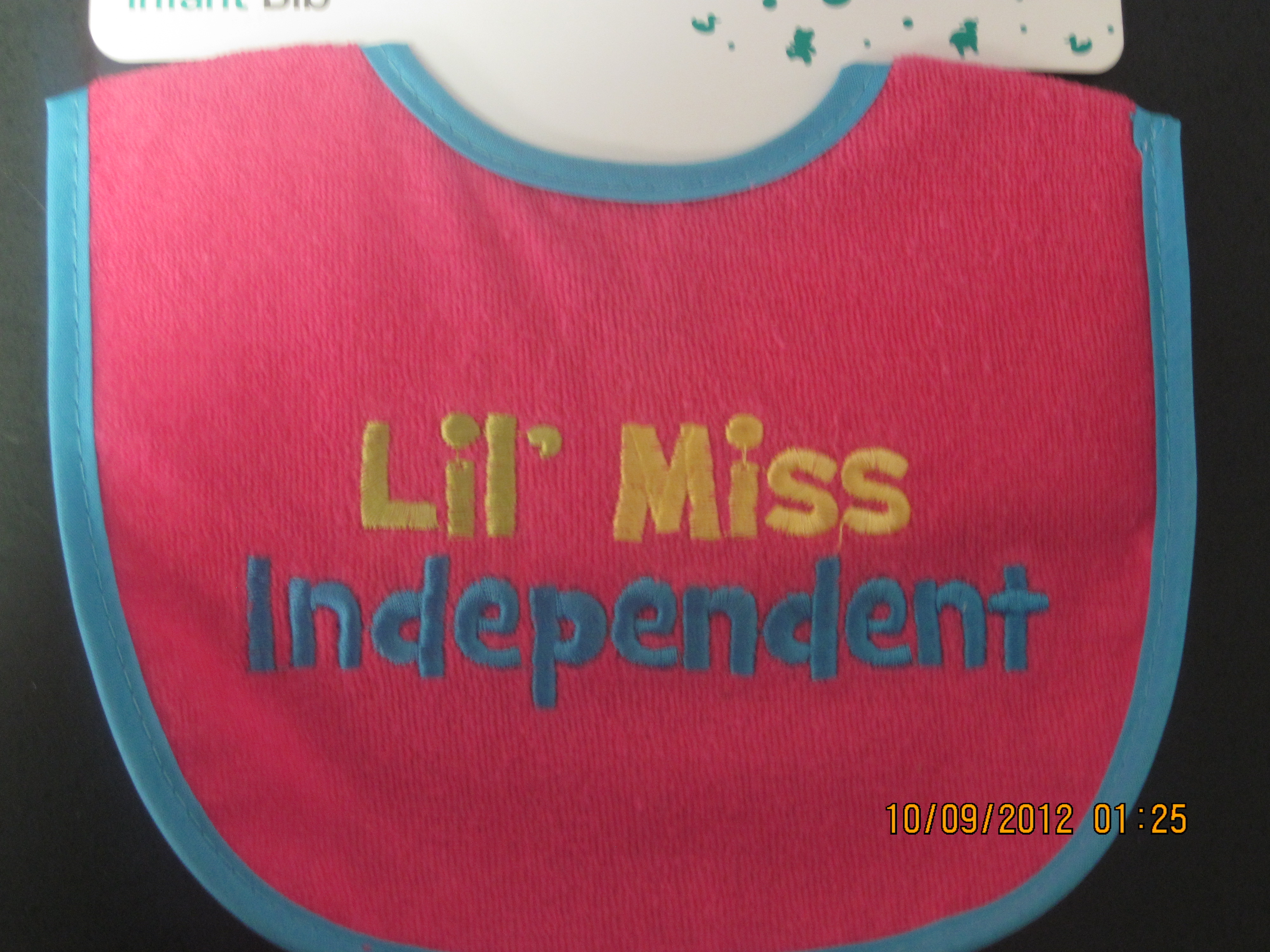 Lil' Miss Independent Infant Bib(pink w/ blue lining
