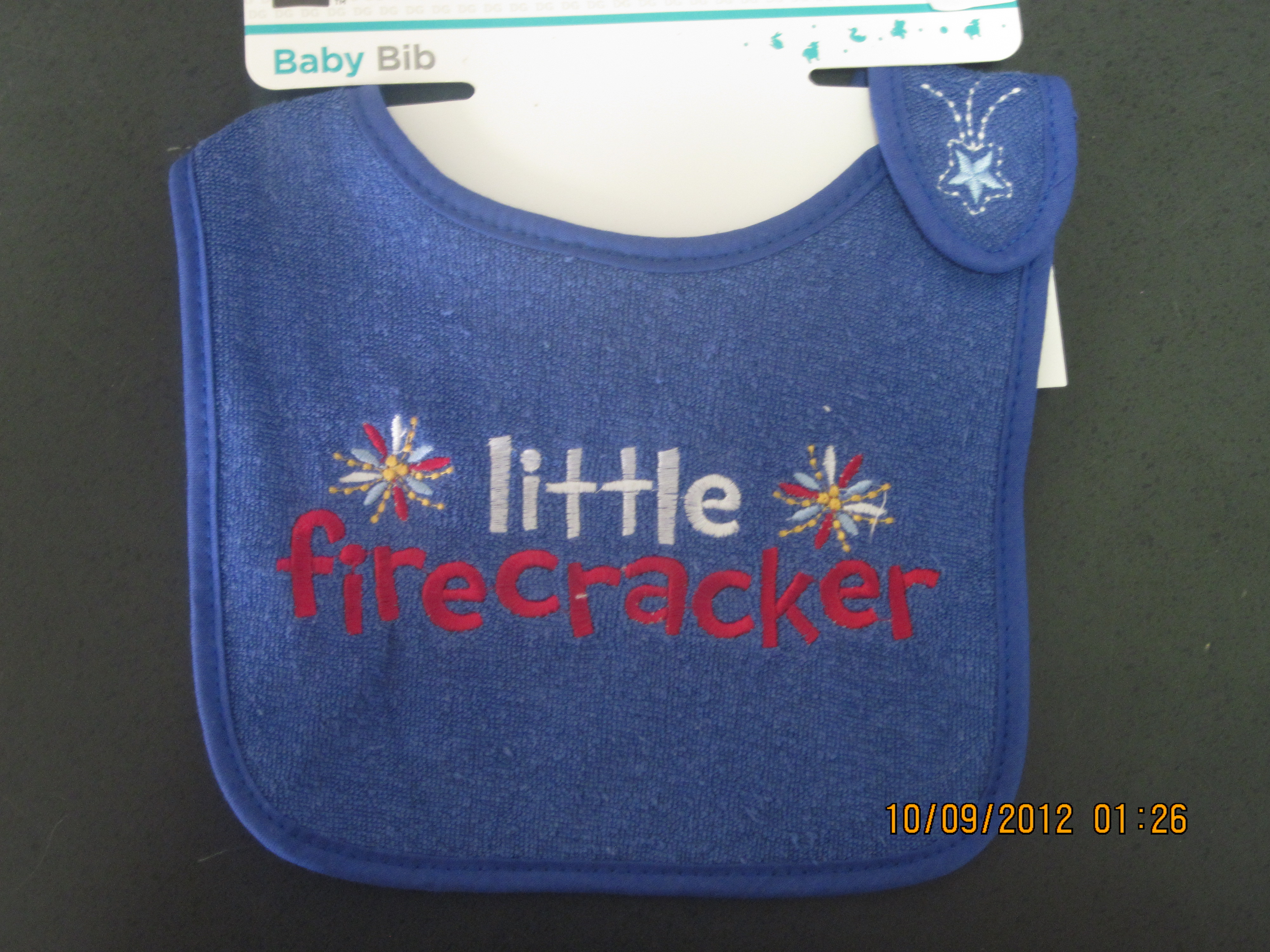 "* Little Firecracker"" Baby Bib(blue with red & white"