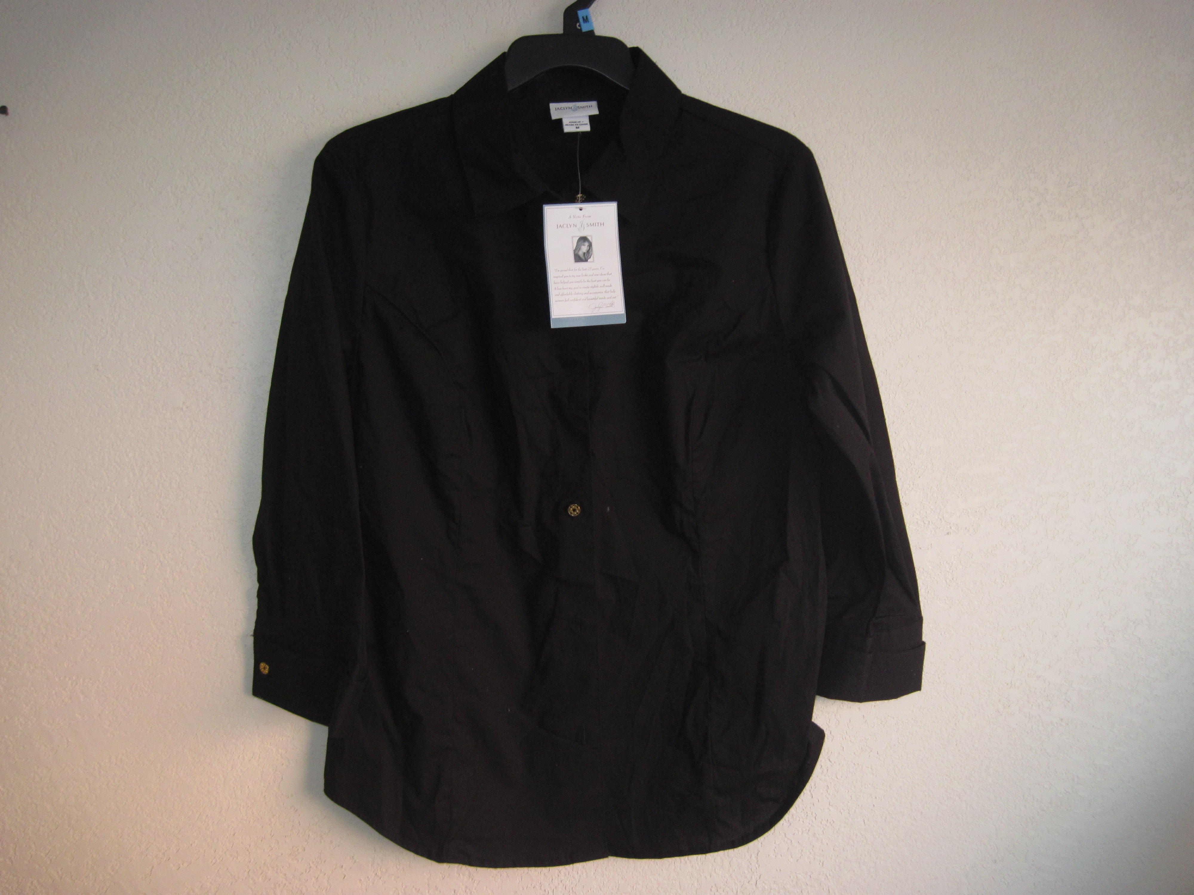 Jaclyn Smith Sz M Long Sleeve Casual Wear Shirt (black)
