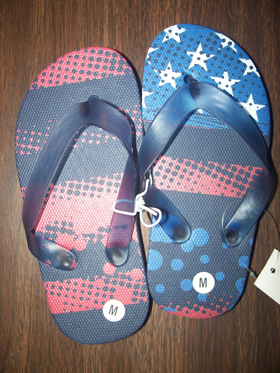 Flip Flops Sz Medium Red White & Blue