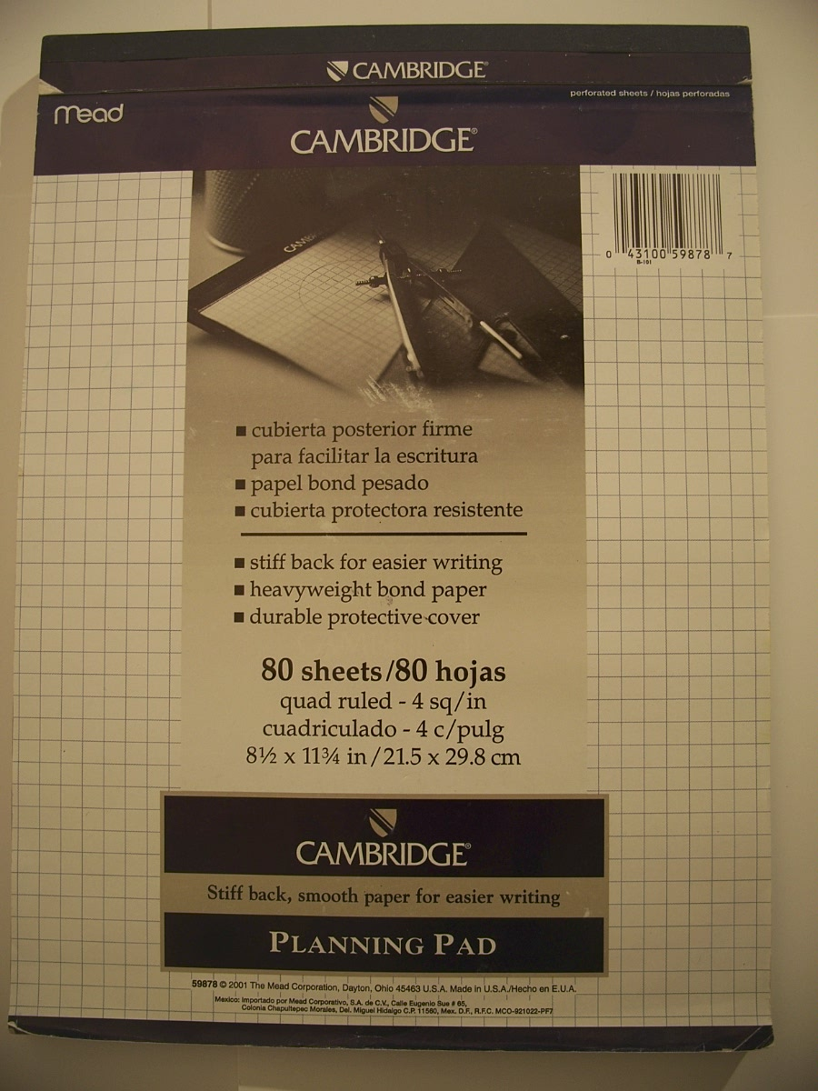 Mead Cambridge Stiff-Back Quad Planning Pad 80 ct 59878