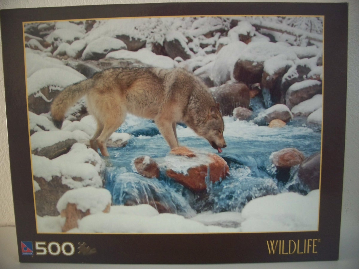 Sure-Lock 500 pc Jigsaw Puzzle Wildlife Wolf Drinking From River