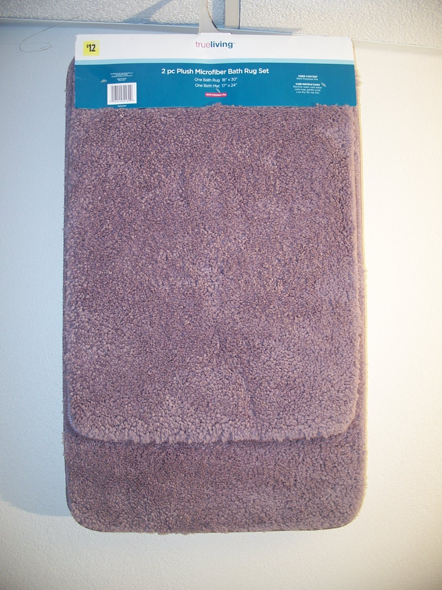 Trueliving 2pc Plush Microfiber Bath Rug Set Purple