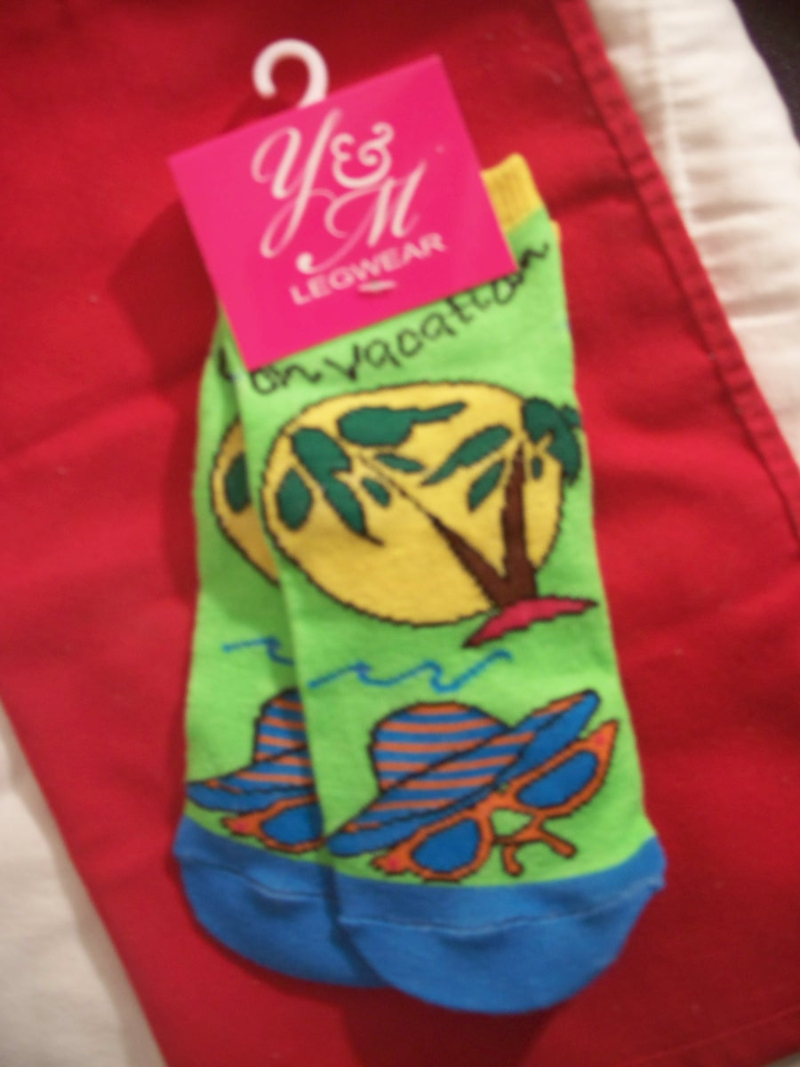 Y&M Legwear Sock SZ 6-10.5 (Hat,Glasses,Tree,Sun Green,)