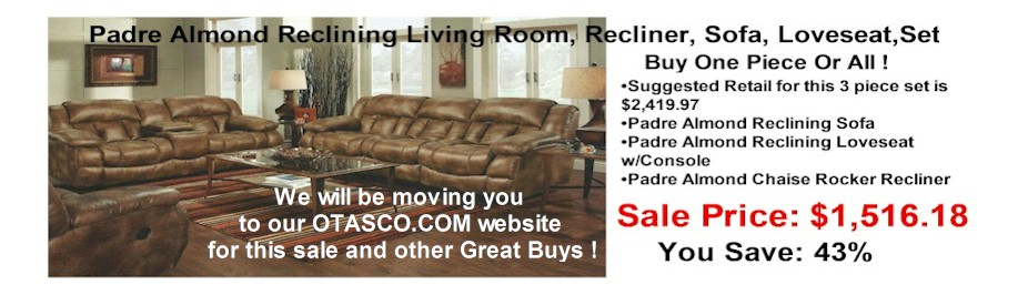 rsbslide2 - Padre Almond Reclining Living Room Furniture Sale !