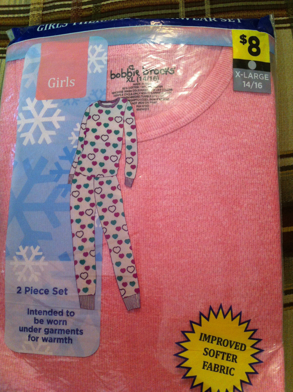 Girls Thermal Underwear Set - Pink X-LARGE 14/16 (2 Piece Set)