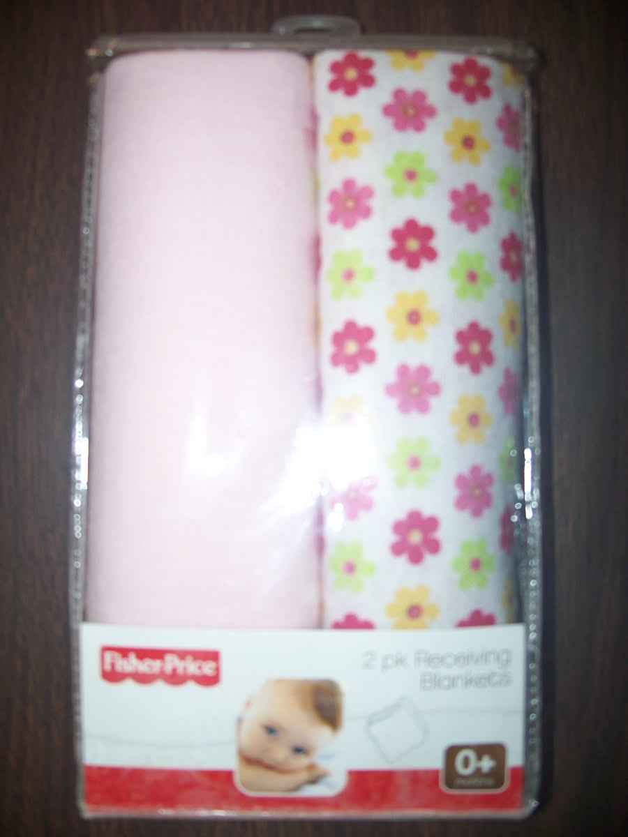 Fisher-Price 2 pk Receiving Blankets (Pink & Pink flowers)