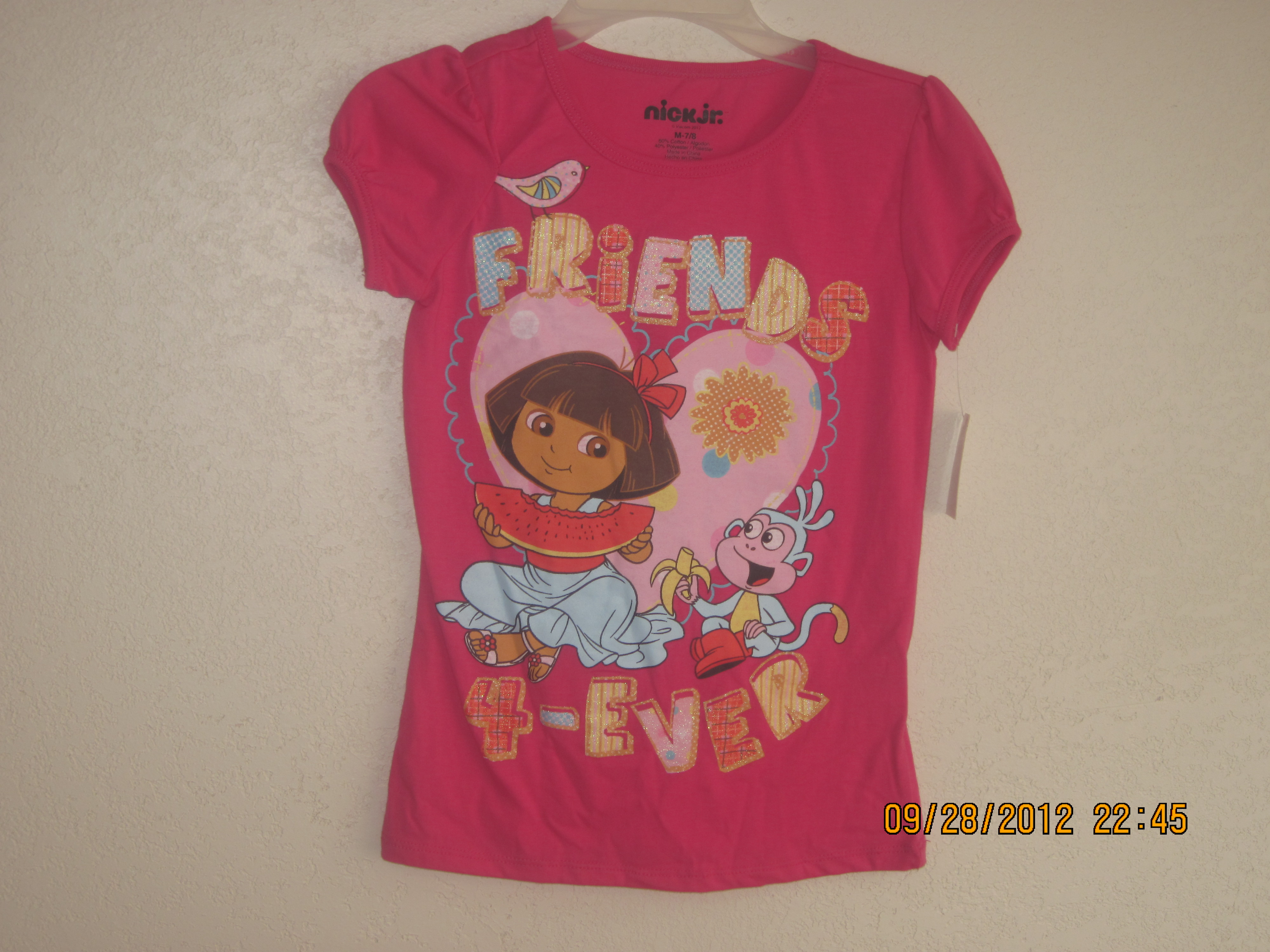 Sz Medium 7/8 Pink Dora T-Shirt(Friends are Forever)