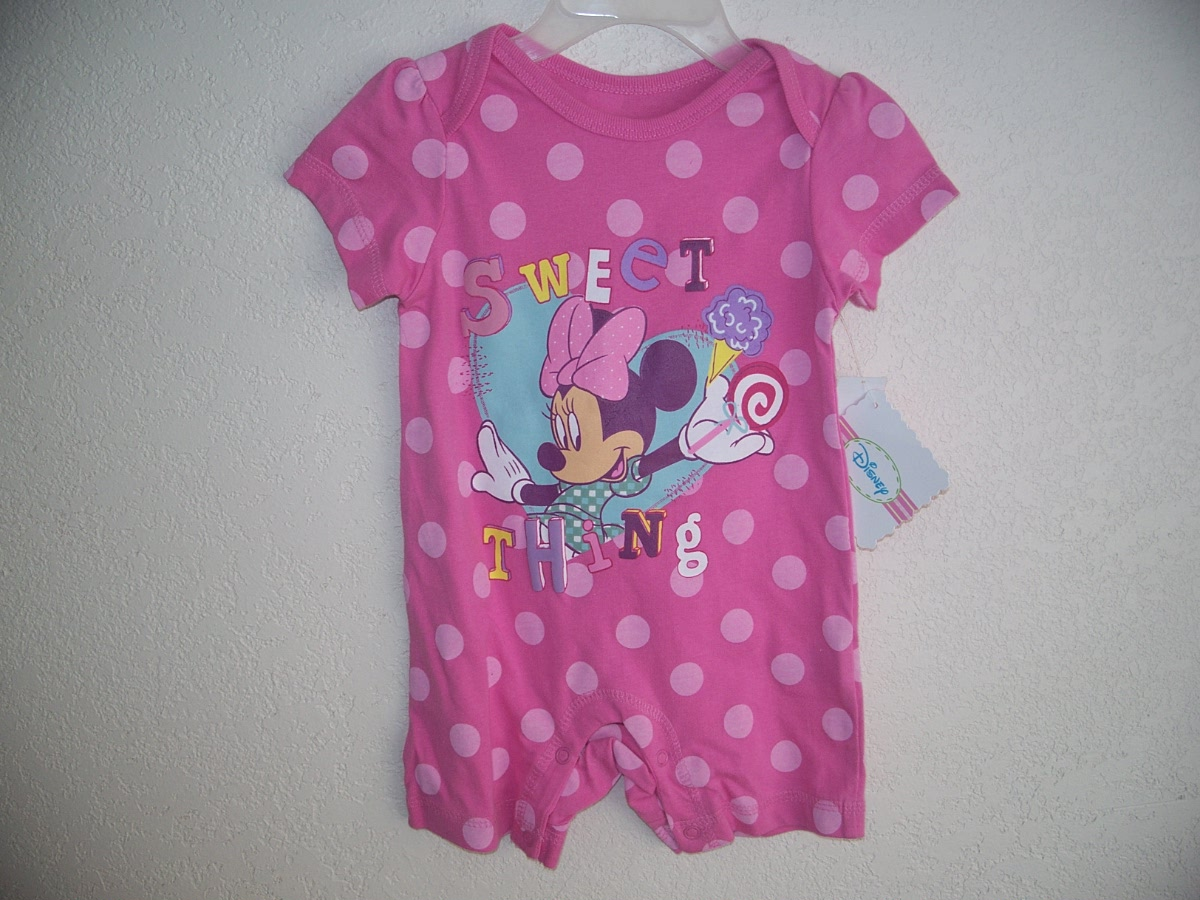 Disney Minnie Mouse Size 3-6M Pink Polka Dot Onesie(Seet Thing)