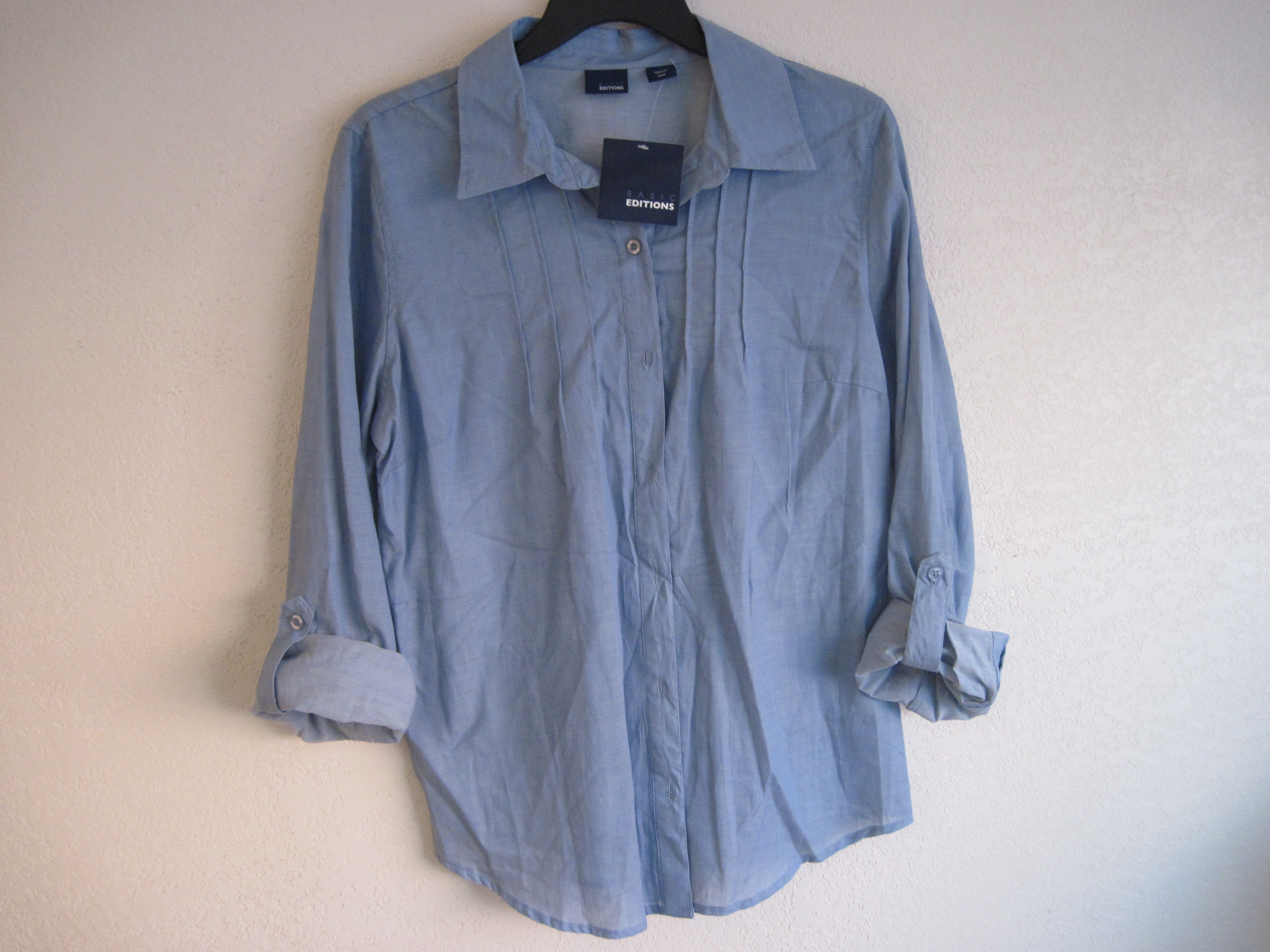 Basic Editions Sz M Pintuck Crinkle Woven Shirt ( sea blue)