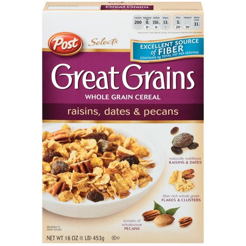 Post Selects Great Grains Raisins Dates & Pecans Cereal, 16 oz