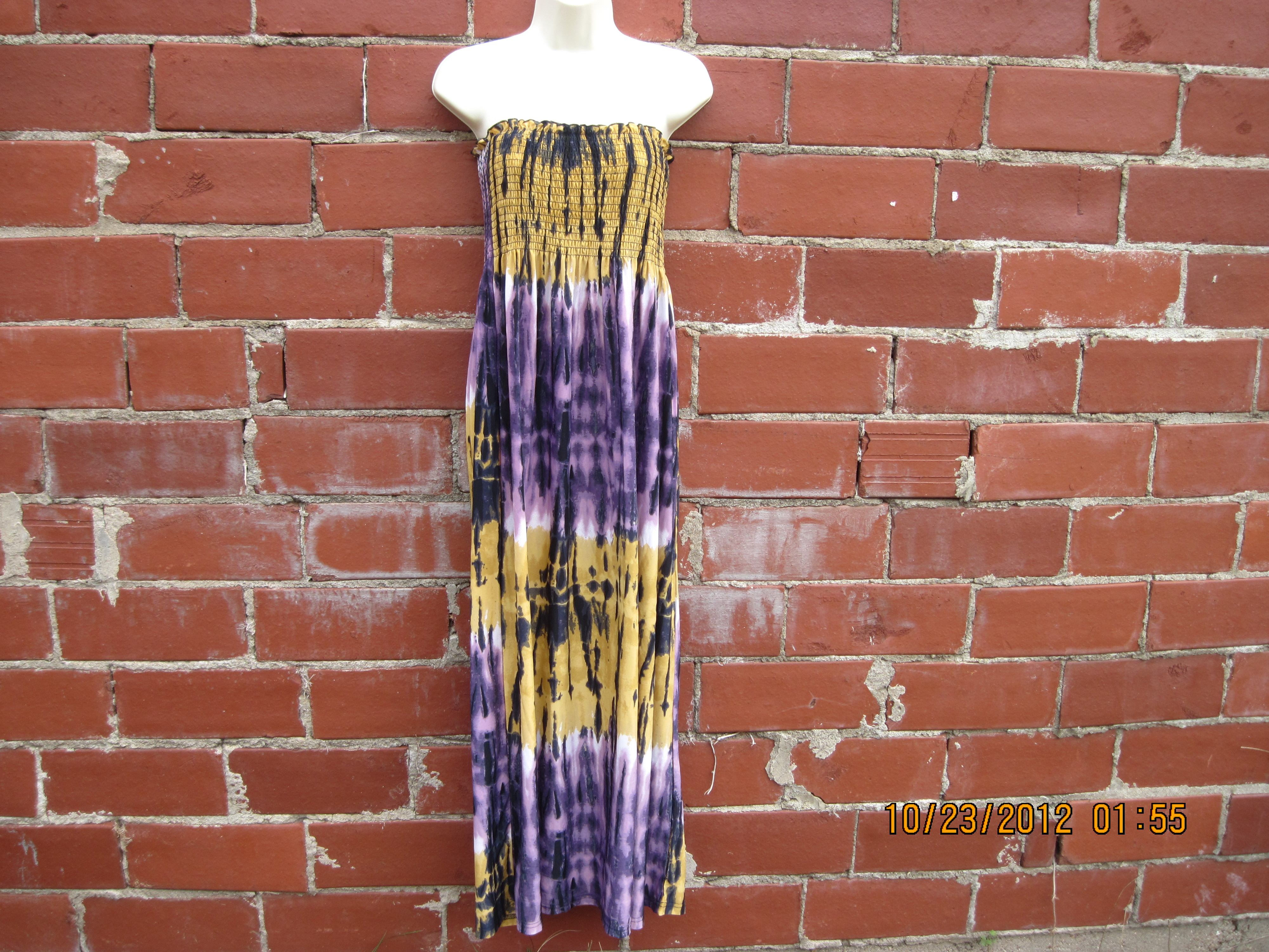 Chesley Sz M Tube Top Dress(purple,burnt yellow)