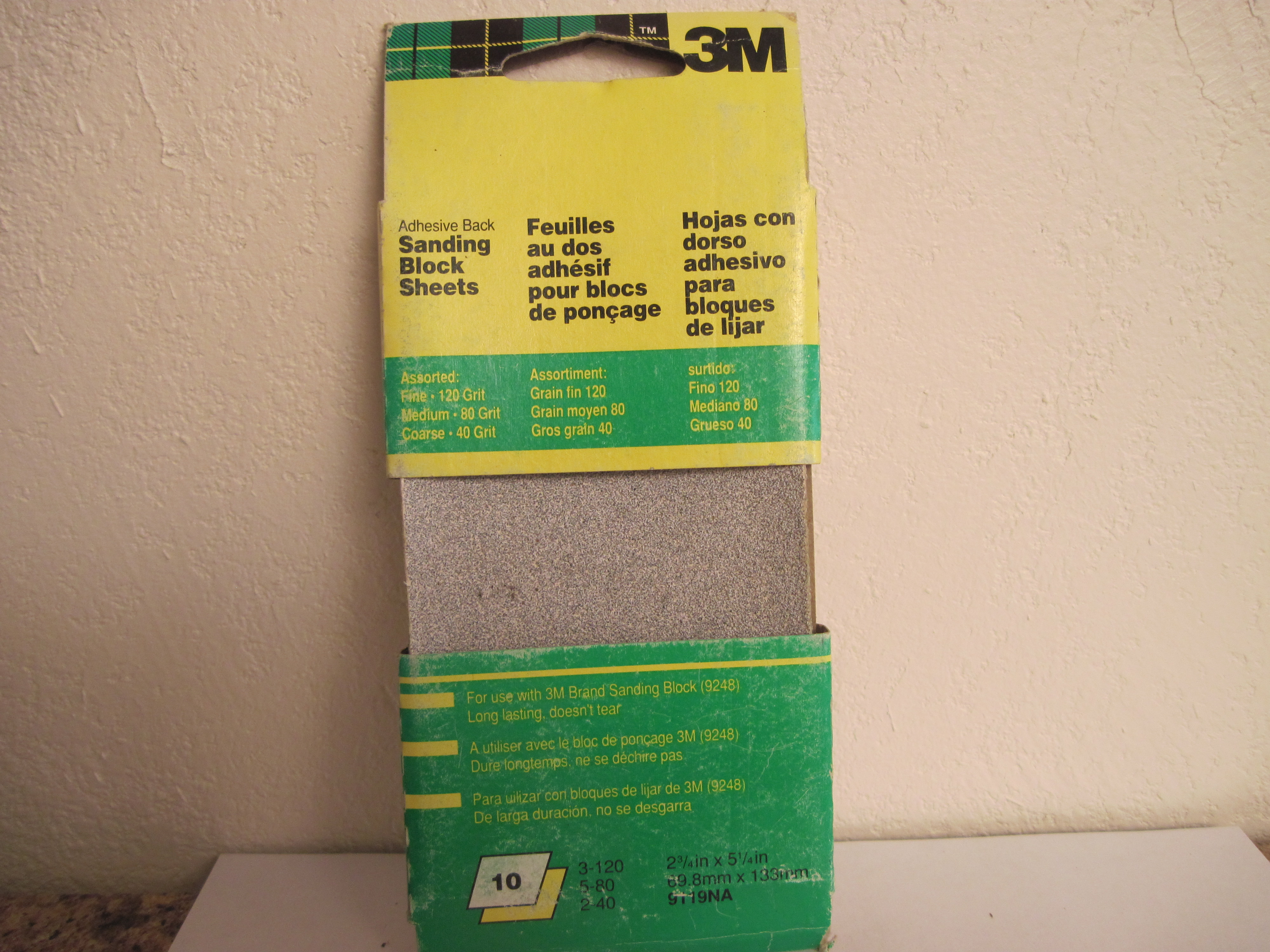 3M Adhesive Back Sanding Paper Block Sheets - 10 Assorted Sheets