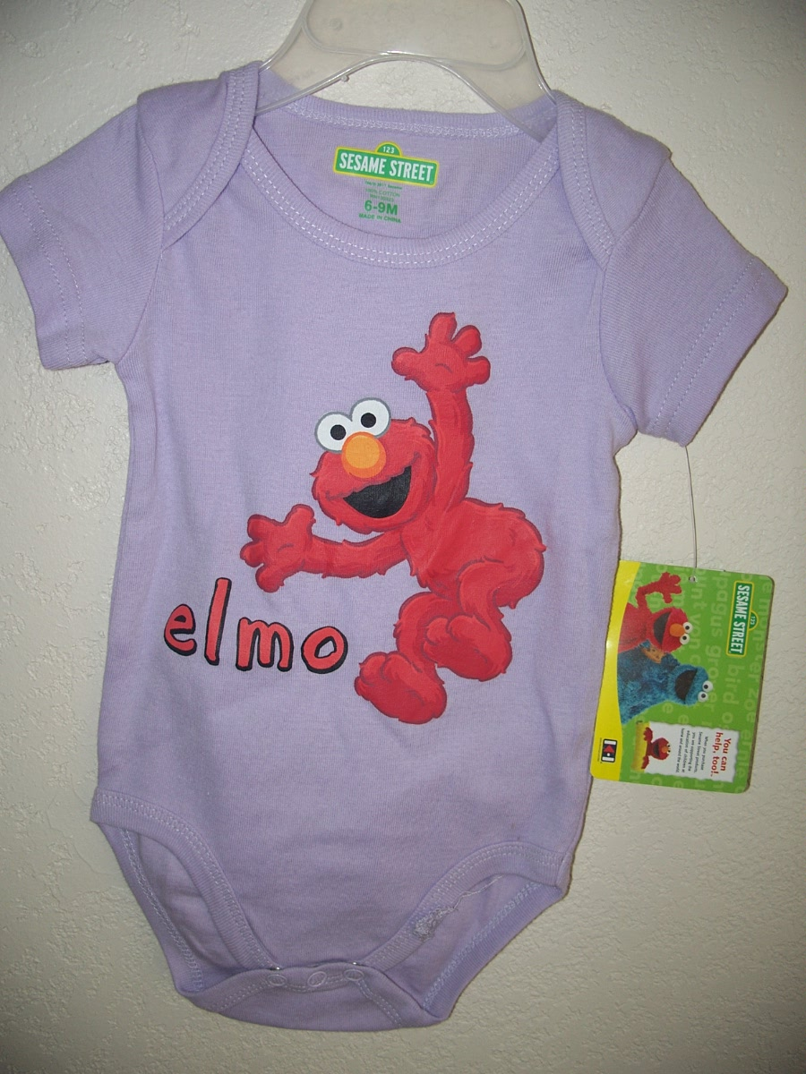 Sesame Street Elmo Size 6-9 Onesie ( Purple With Red Elmo )