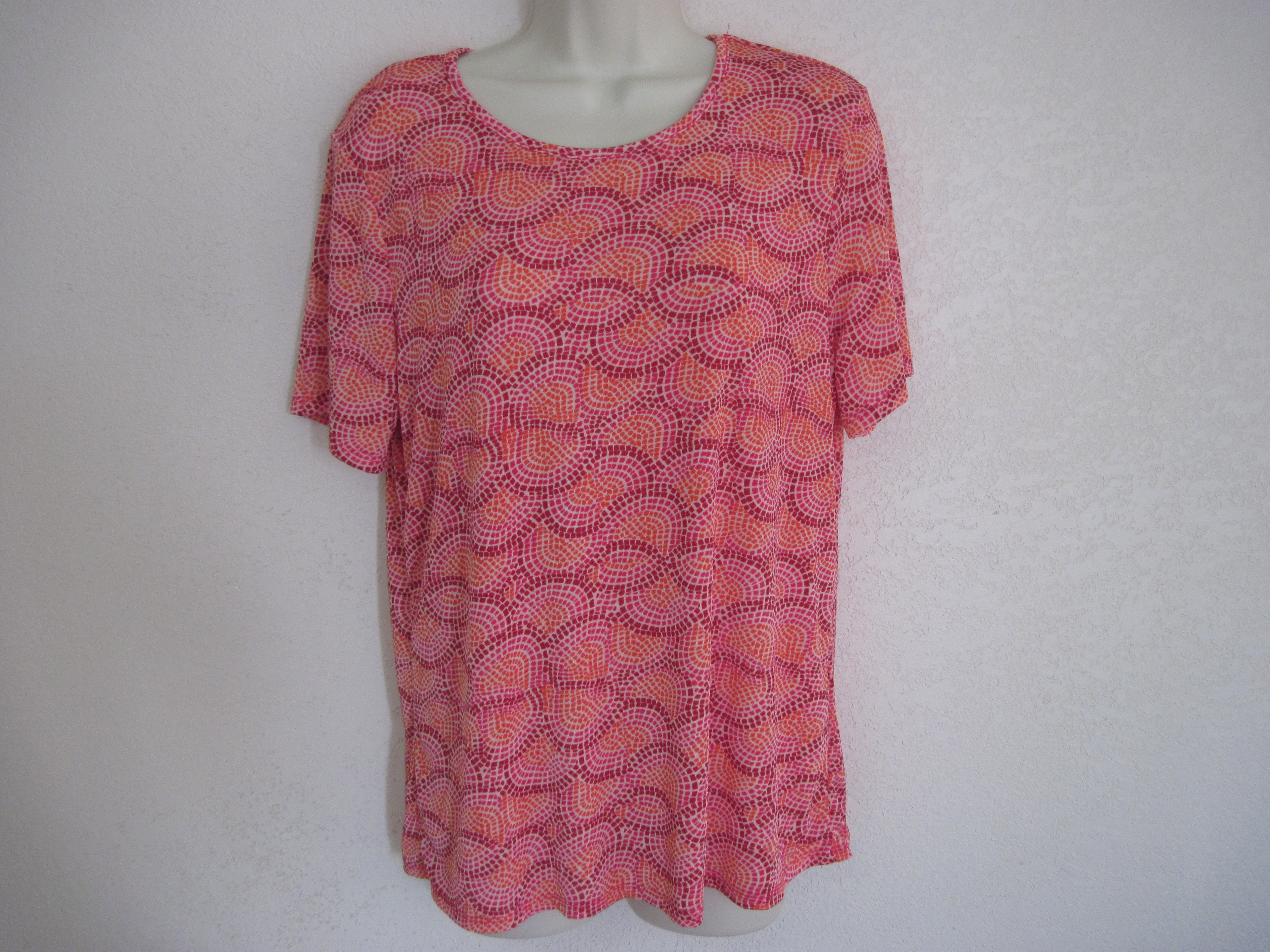 Jaclyn Smith Sz S Womens Shirt (Slinky Shells Orange,Pink
