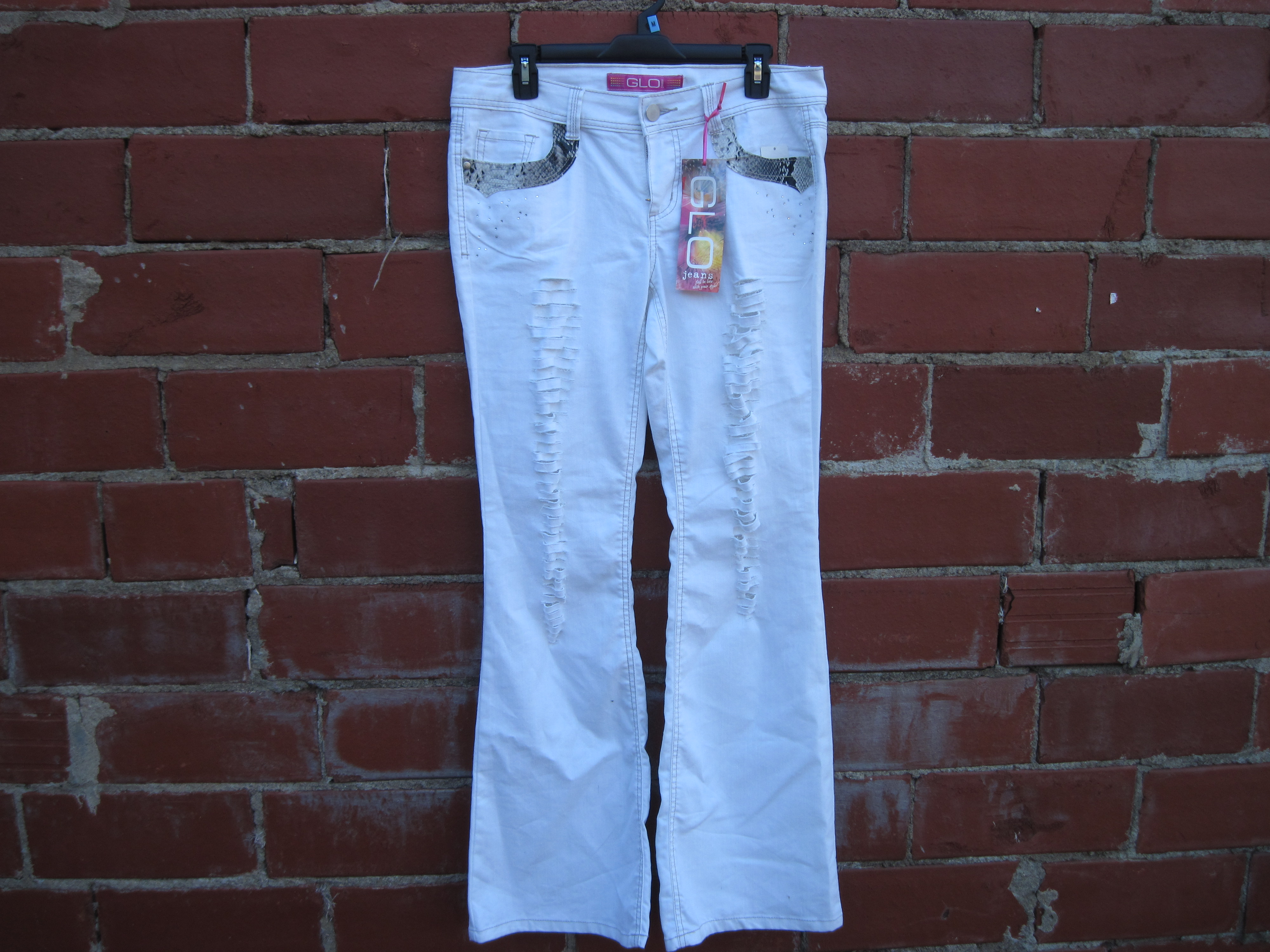 GLO Womens Sz 11 Juniors Denim Flare With Snake Detail - white