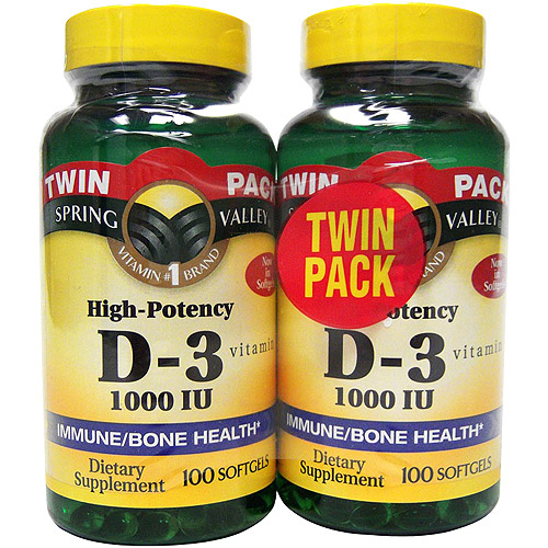 Spring Valley High-Potency Vitamin D-3 1000 IU, 100 Soft Gels Tw