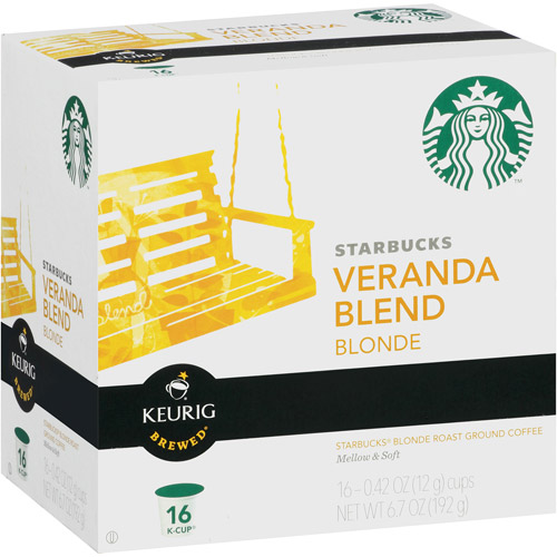 Starbucks Blonde Ground Coffee Keurig K-Cups, Veranda Blend, 16c