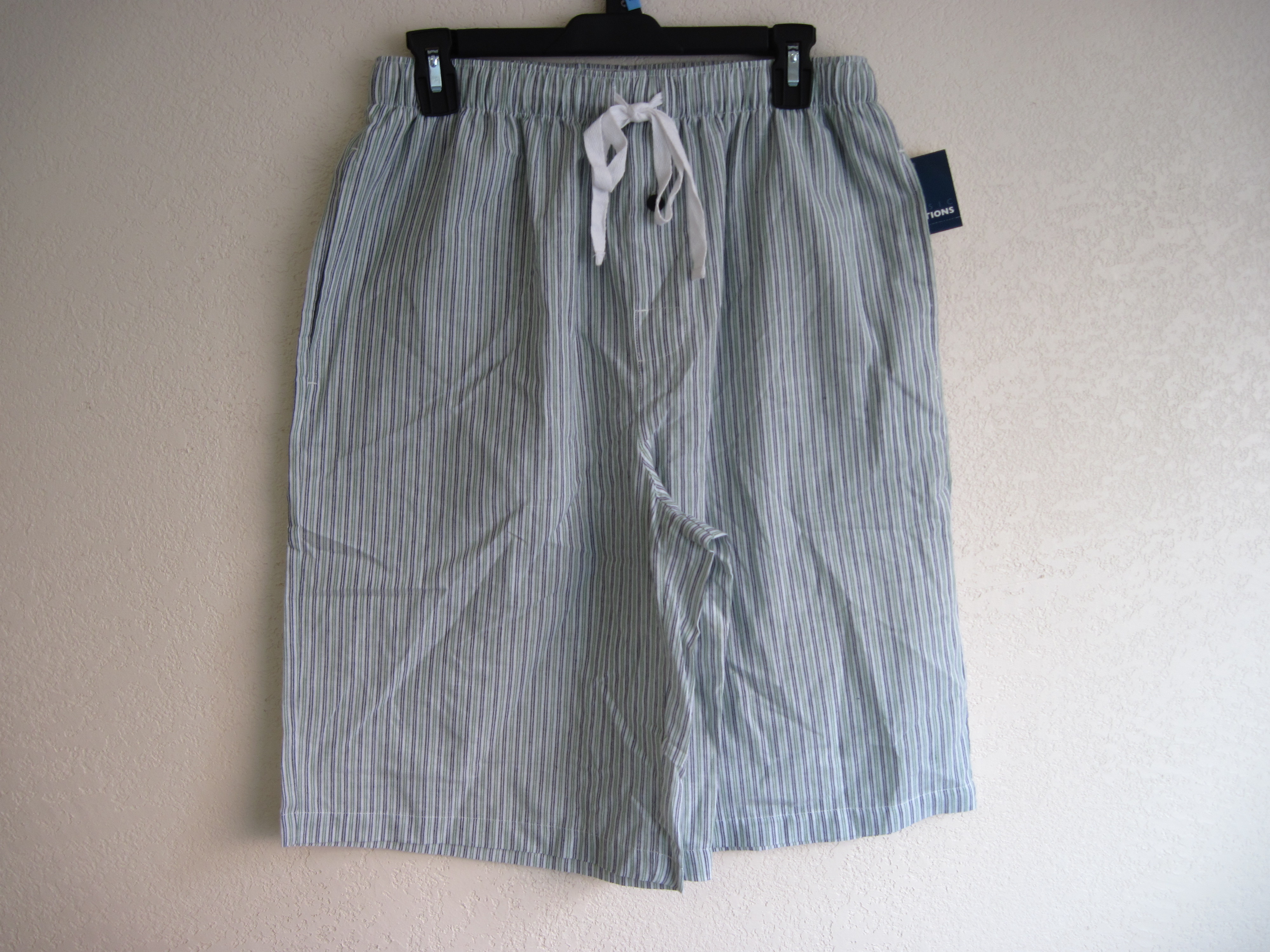 Basic Edtions Sz M Mens Sleep Shorts (striped green & black)