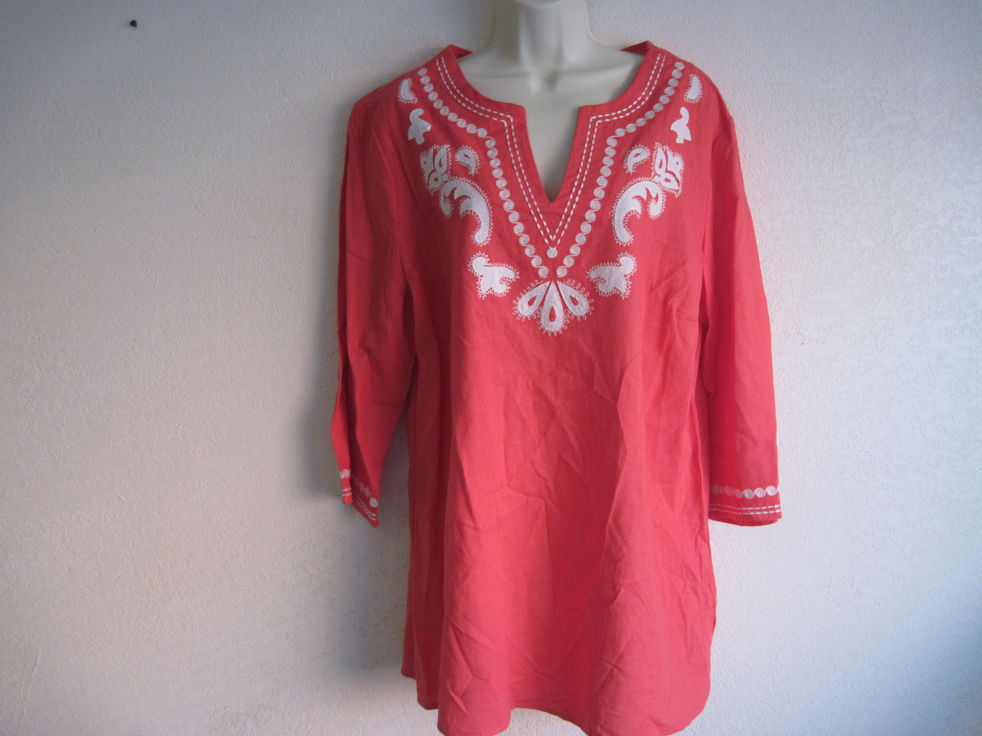 Jaclyn Smith Sz XL Summer Graphic Linen (orange red)