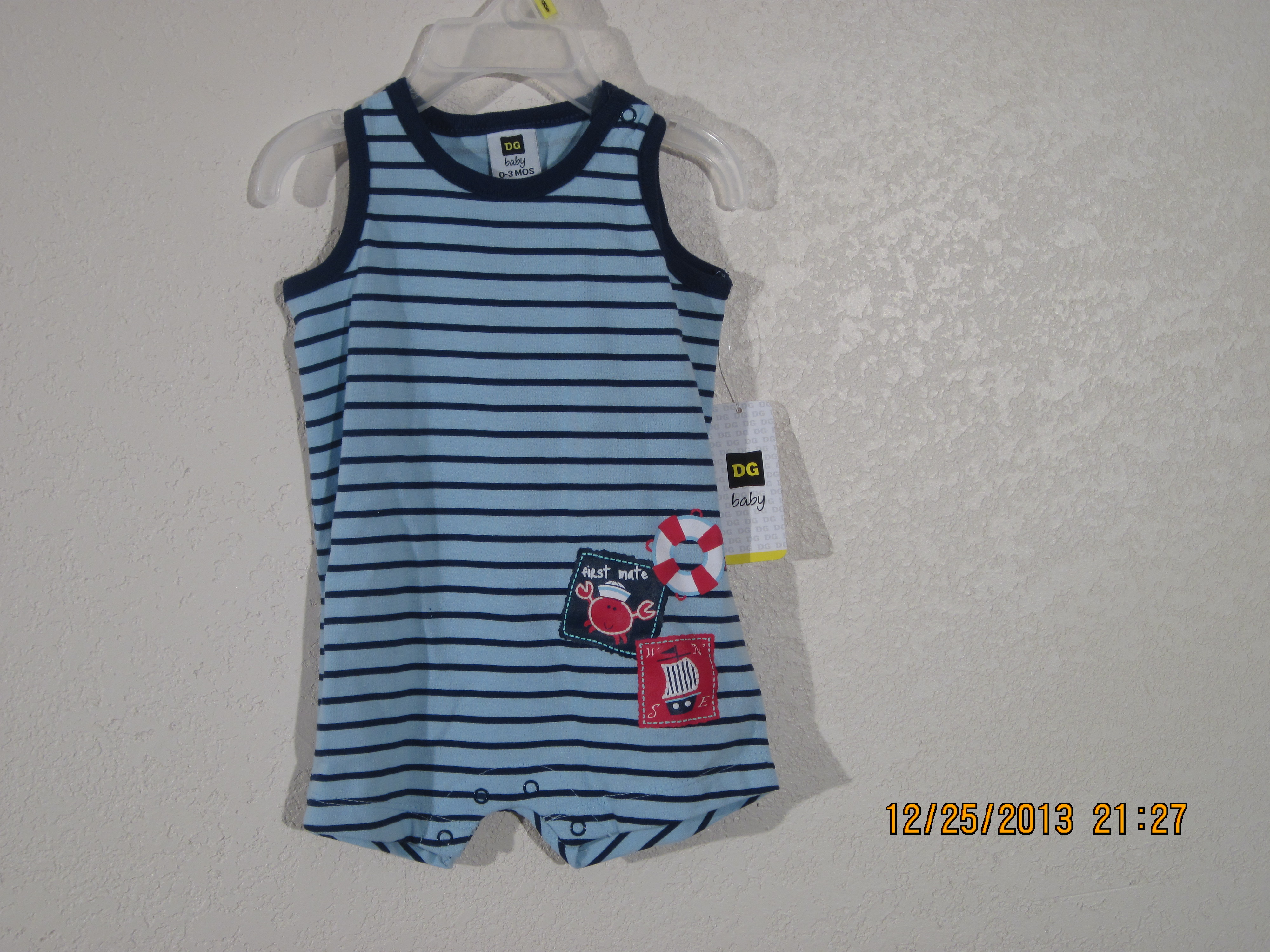 DG Baby Sz 0-3 Surf & Turf Onesie(Striped Blue)