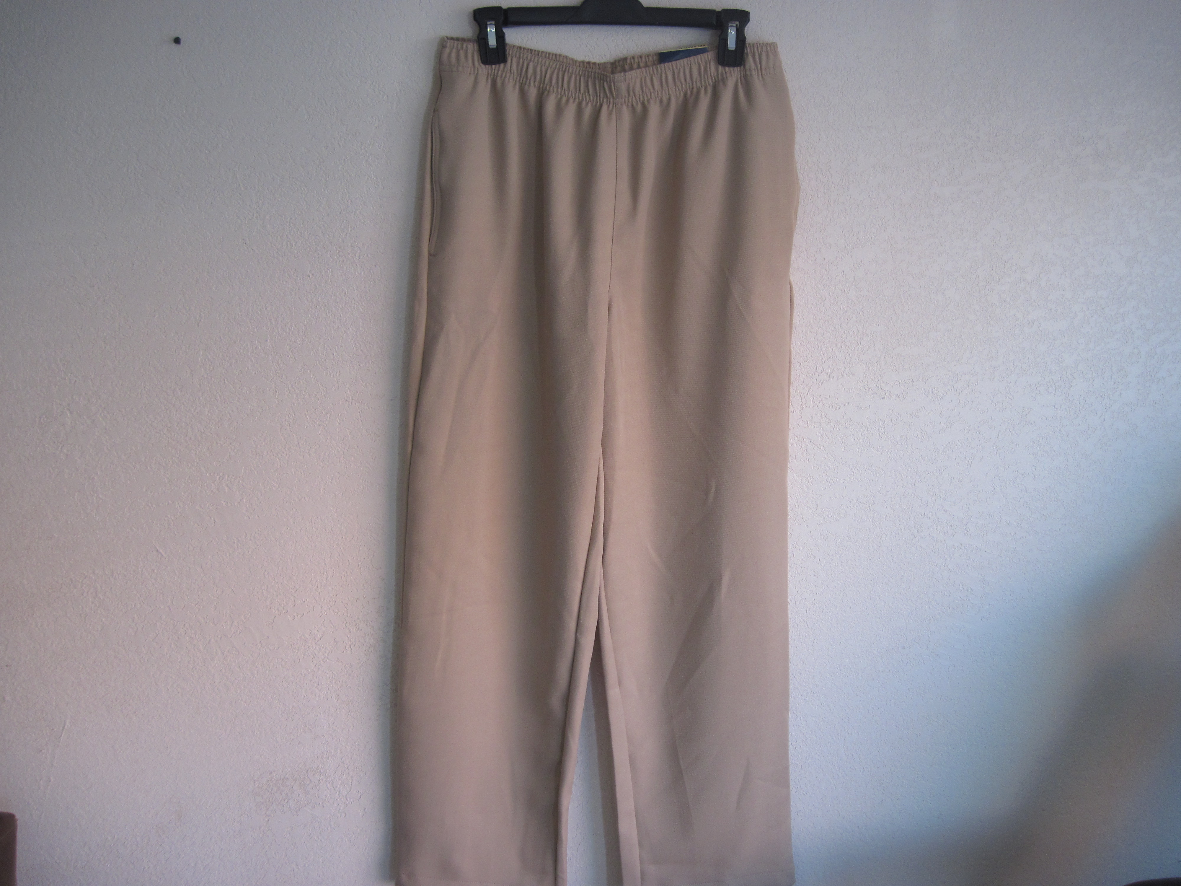 Basic Editions Sz Lg Pull On Slacks (tan)