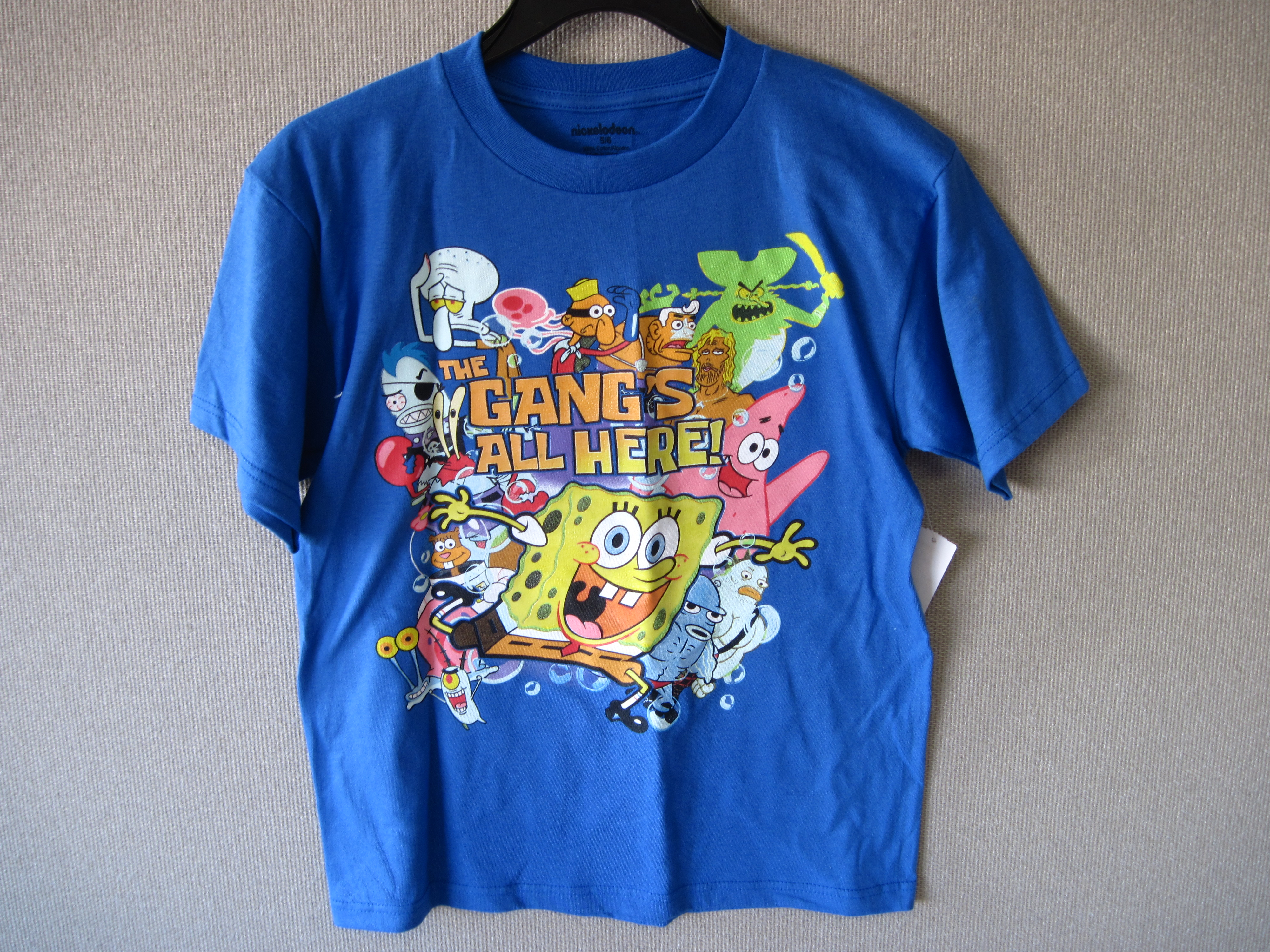 Spongebob T-Shirt Sz 4 (The Gangs All Here) Blue