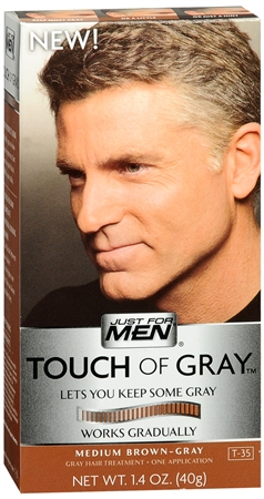 Just For Men Touch of Gray Medium Brown-Gray Hair Treatment, 1.4