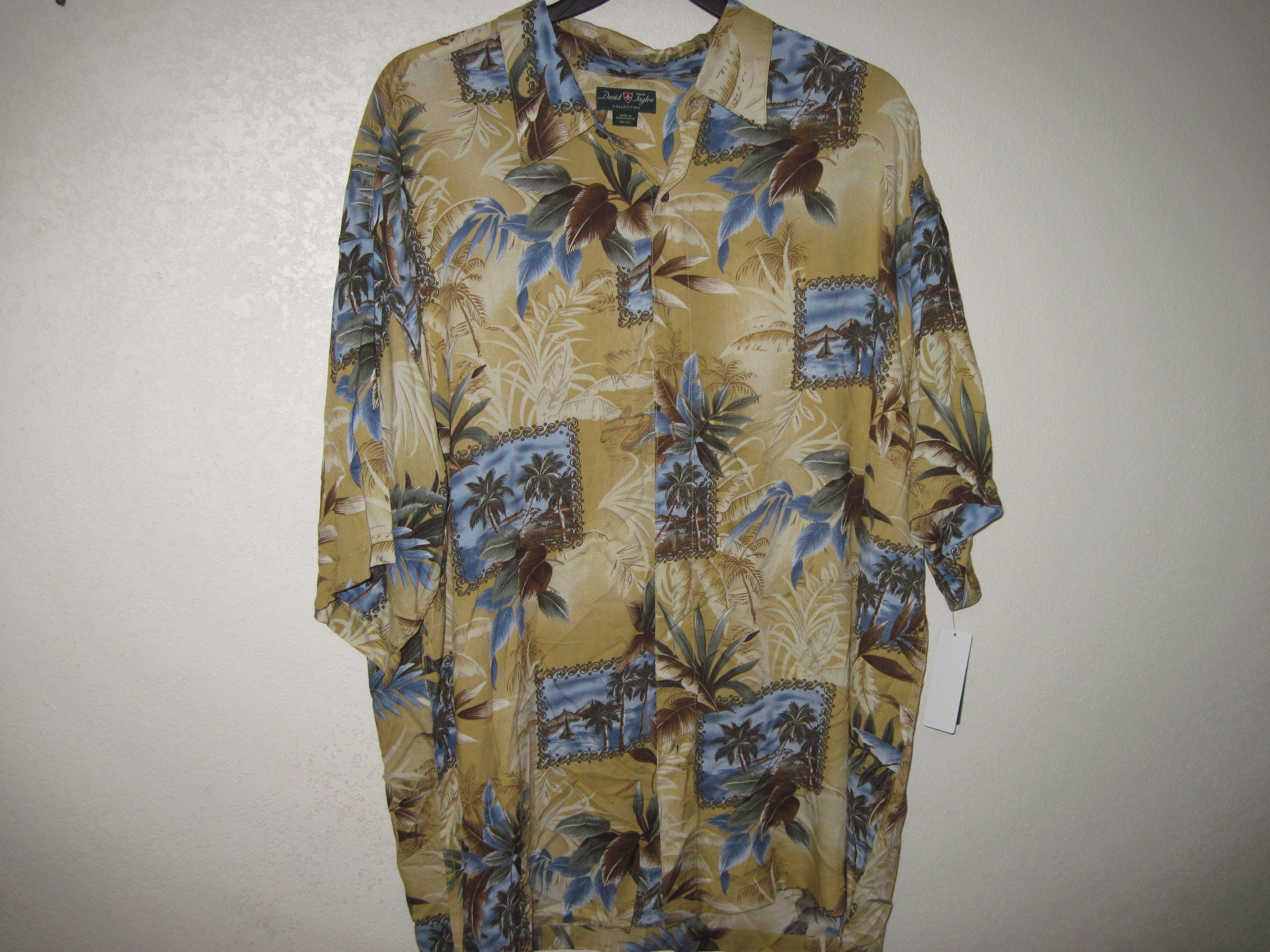 David Taylor Sz 2XL Mens Tropical Print Shirt Cream