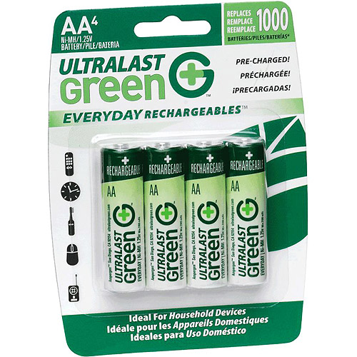 UltraLast AA 4 Pack Green Precharged Ready-to-Use Rechargeable B