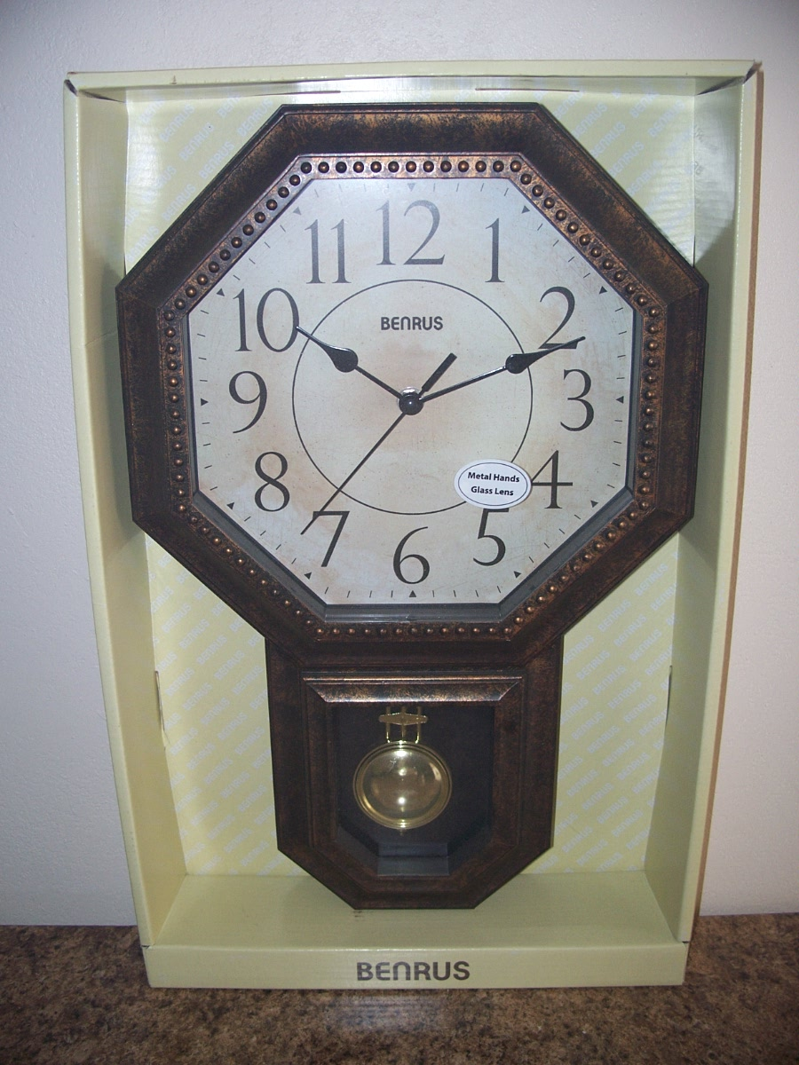 Benrus Schoolhouse Wall Clock 17.8 in (Antiquesh - Rustic )
