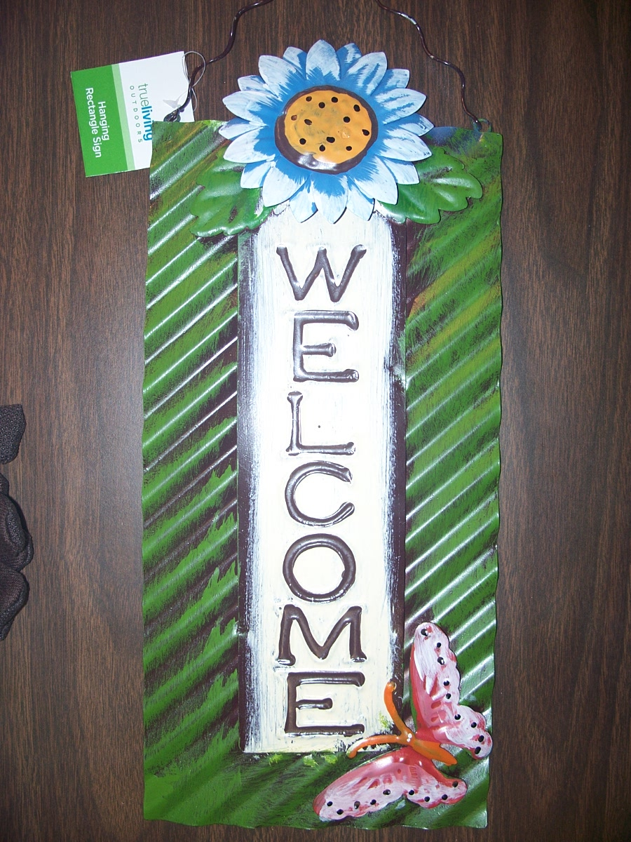 "Rectangle ""Welcome"" sign with blue flower & pink butterfly"