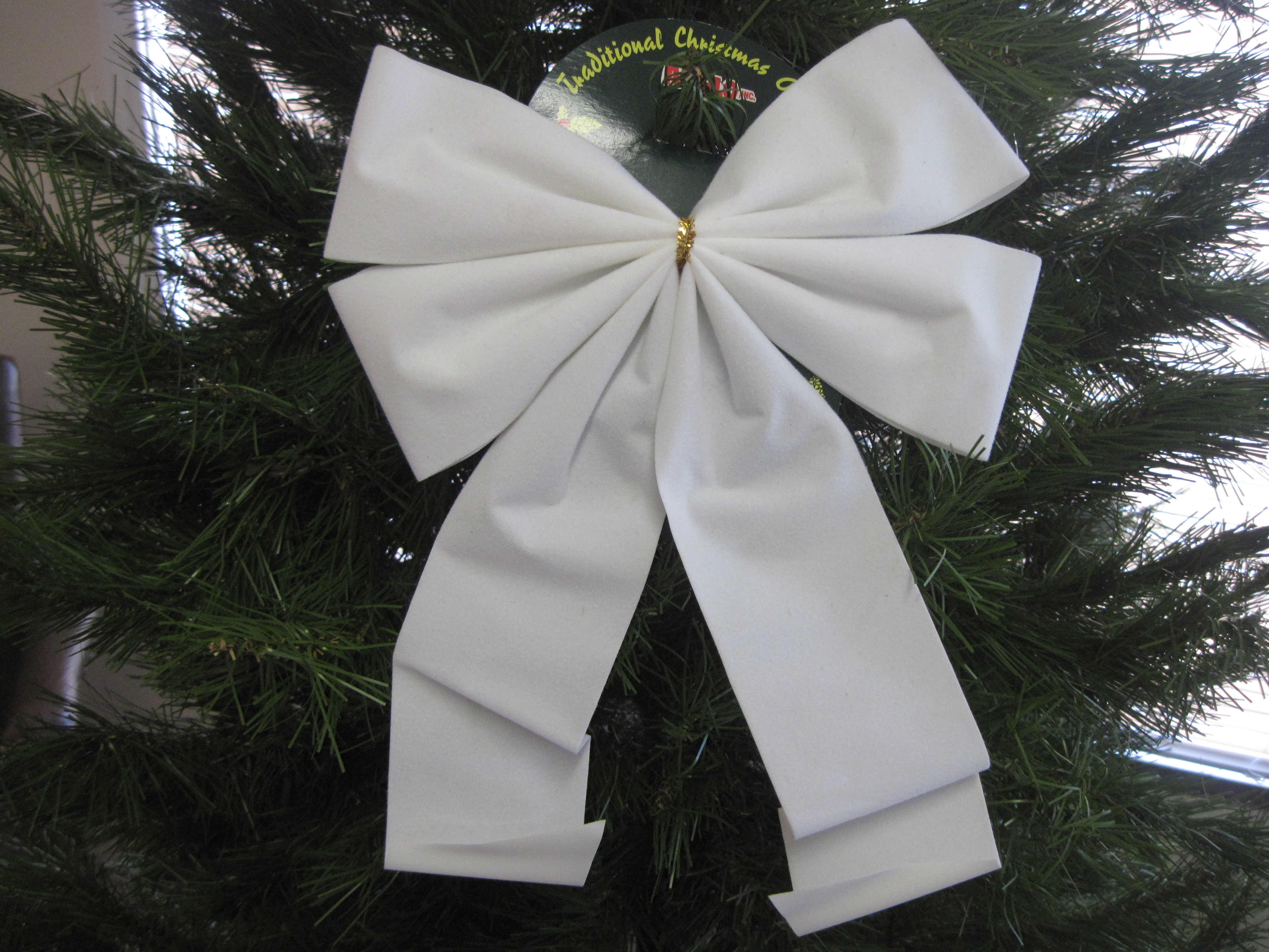 Traditional Christmas Bow Ornament - White